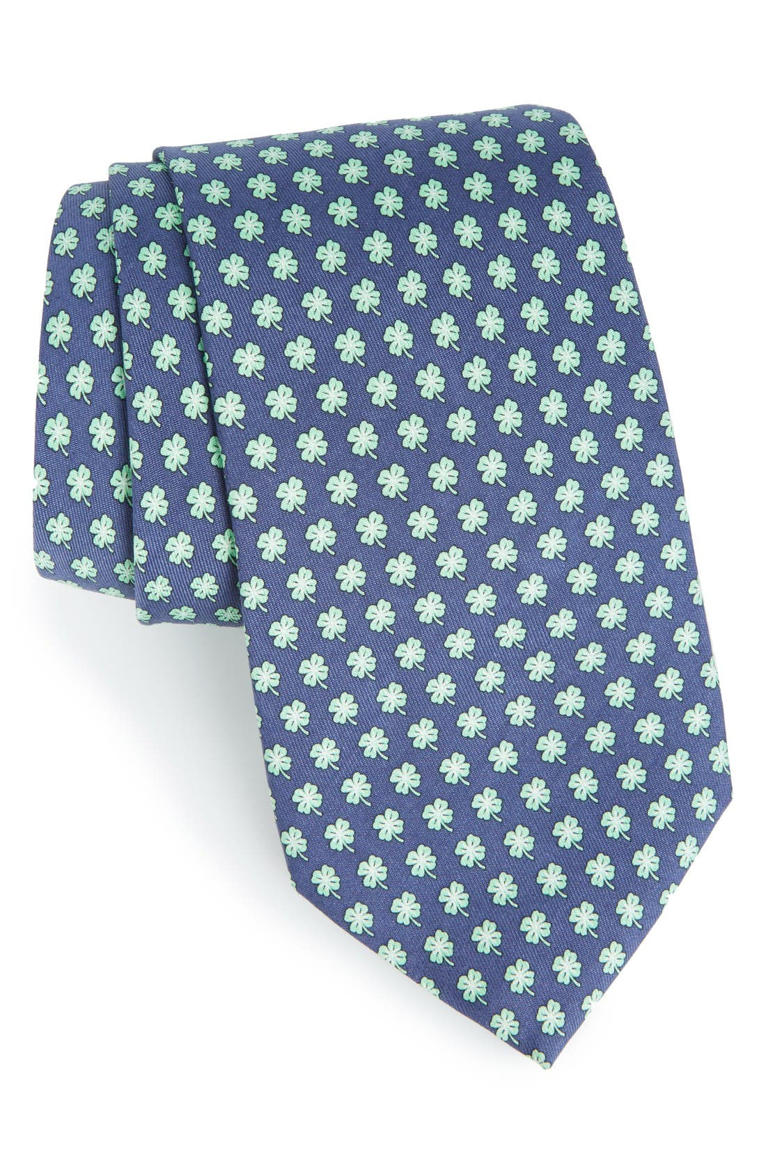 Print Silk Tie,                         Main,                         color, Dark Blue