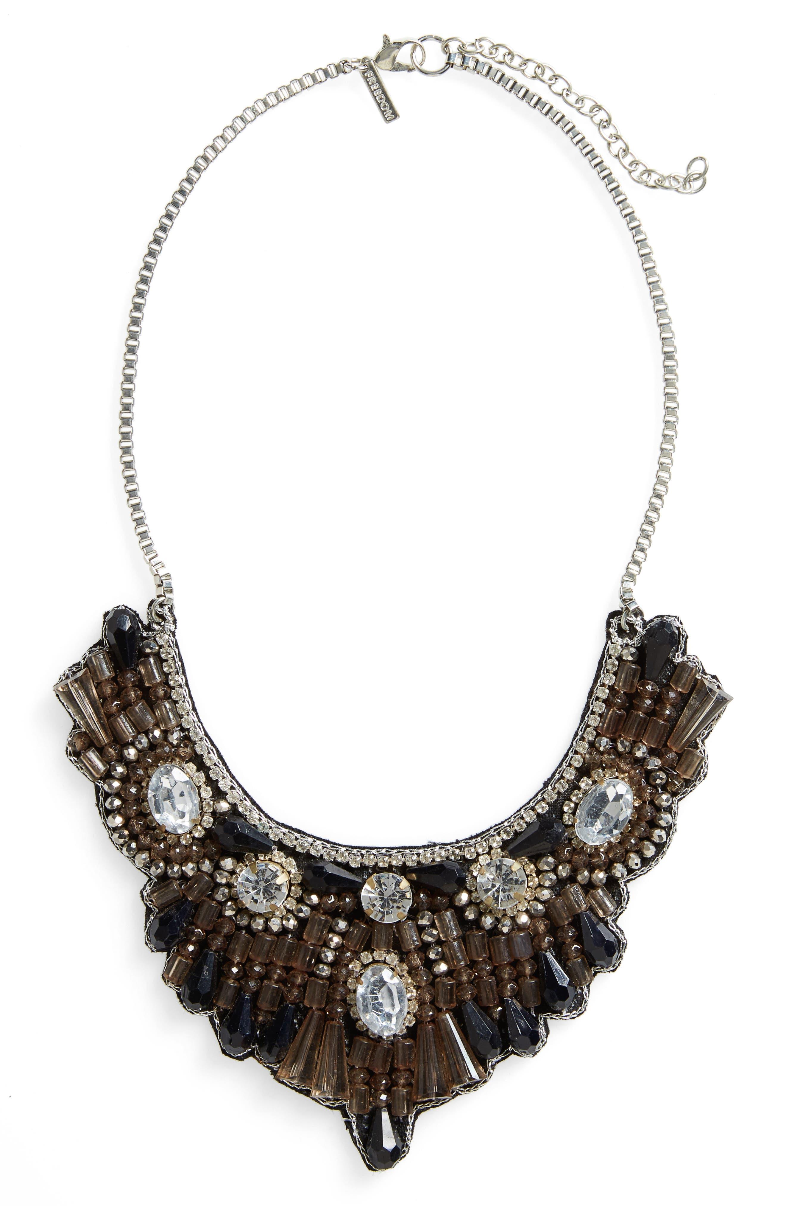 Alternate Image 1 Selected - Topshop Crystal & Bead Bib Necklace