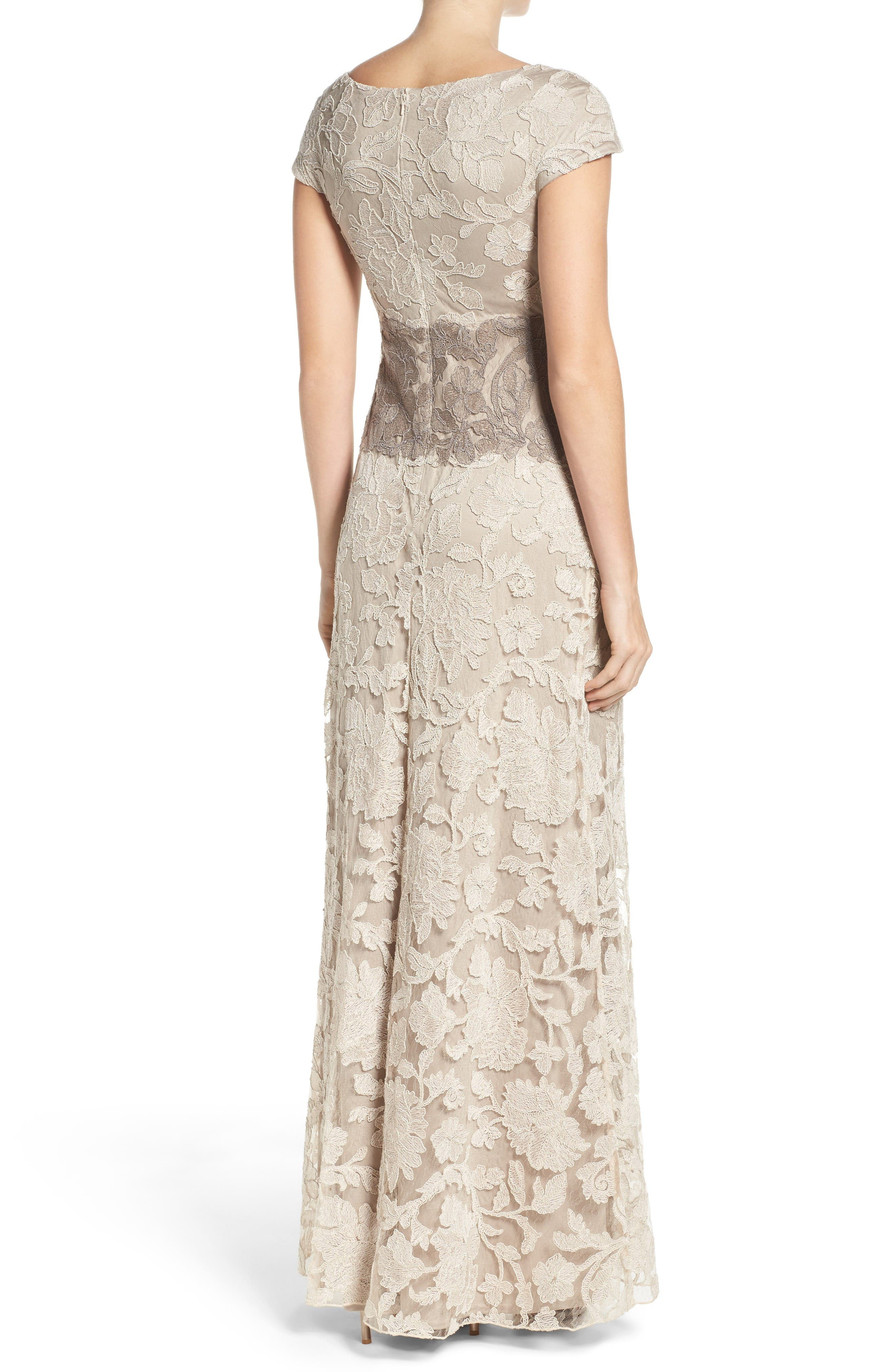 Alternate Image 2  - Tadashi Shoji Floral Embroidered Gown