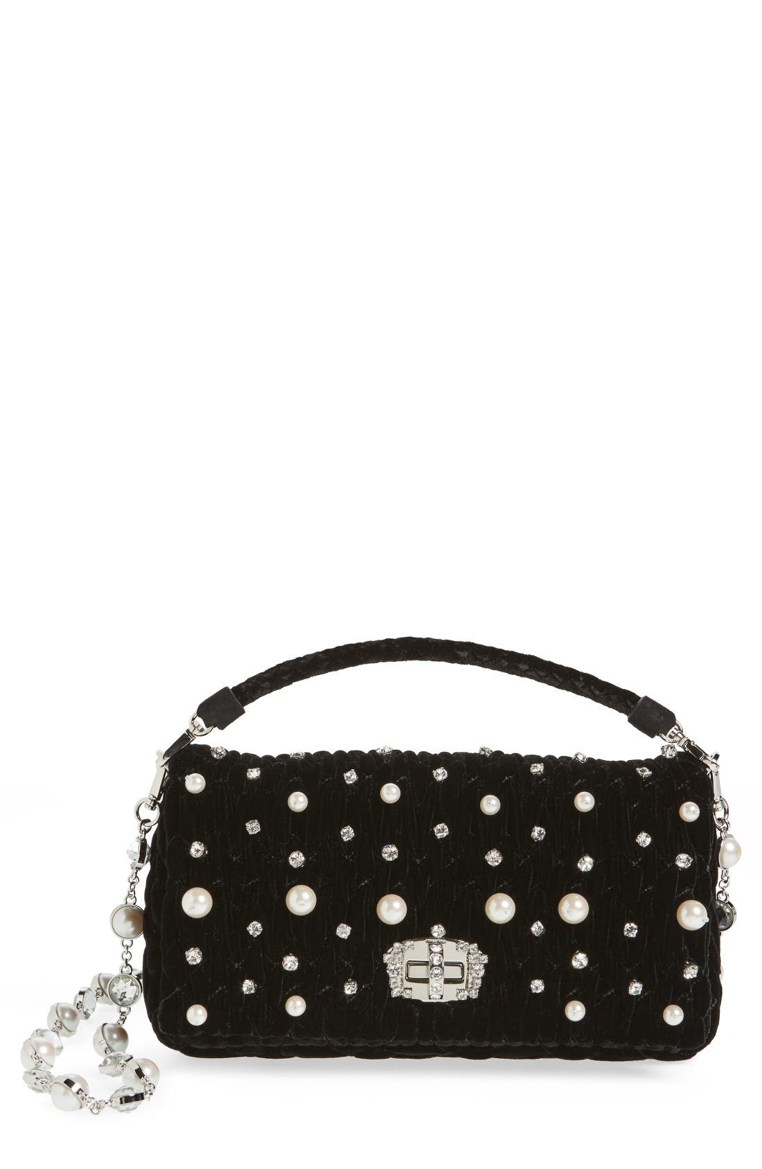 Main Image - Miu Miu Velluto Crystal Embellished Crossbody Clutch