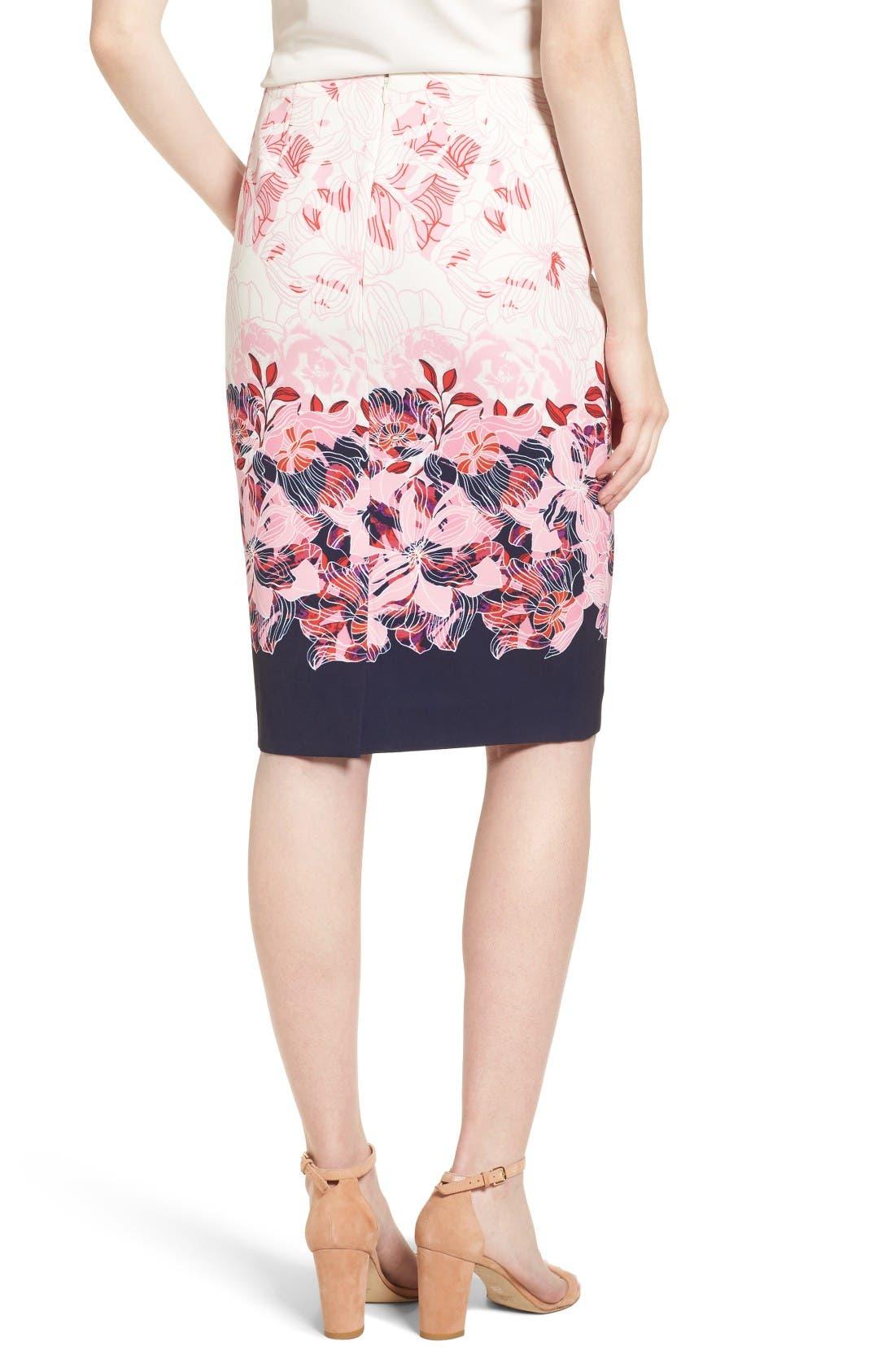 Alternate Image 3  - Halogen® Floral Print Pencil Skirt (Regular & Petite)