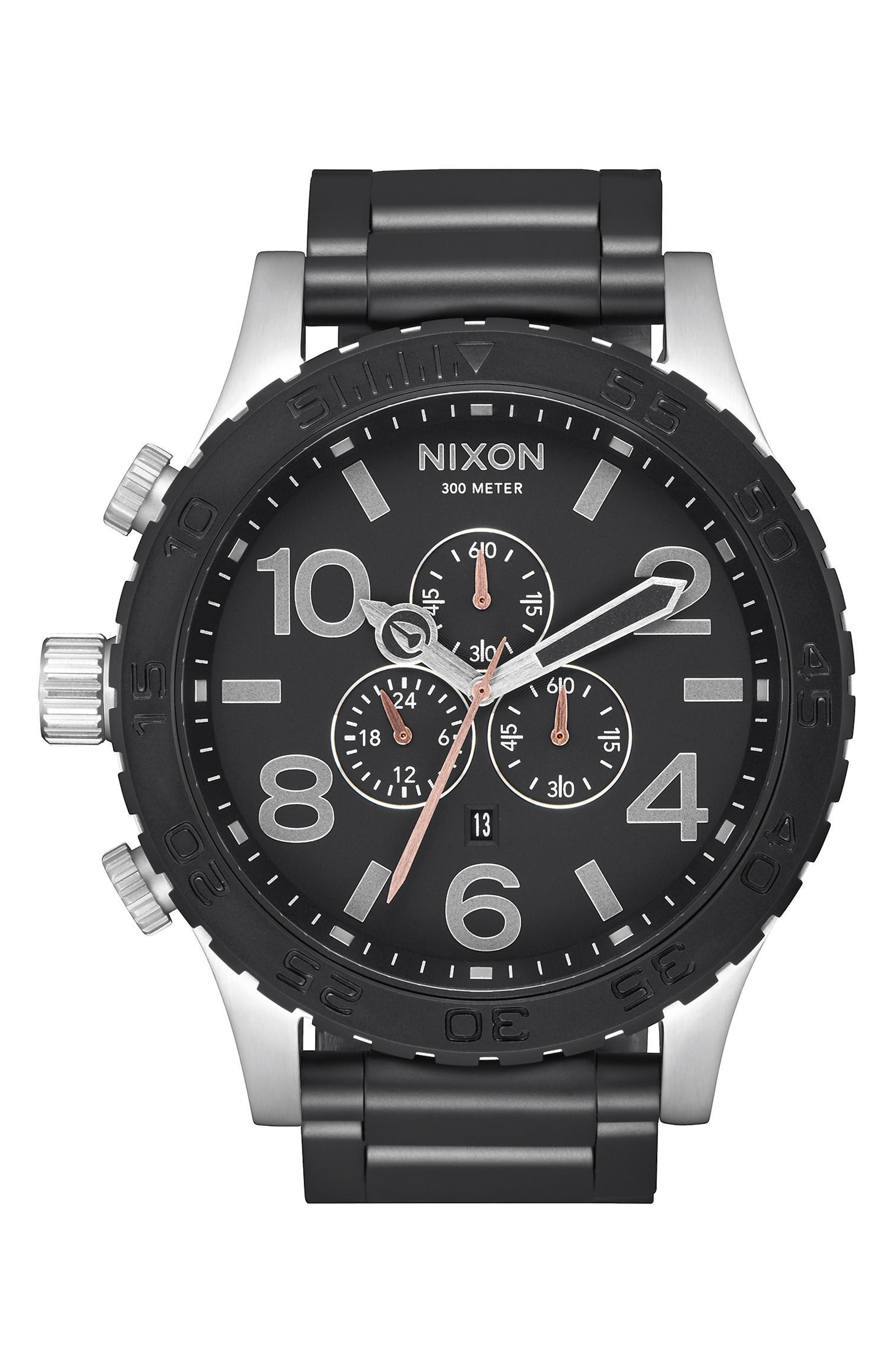 51-30 Chronograph Watch, 51mm,                         Main,                         color, Black/ Steel
