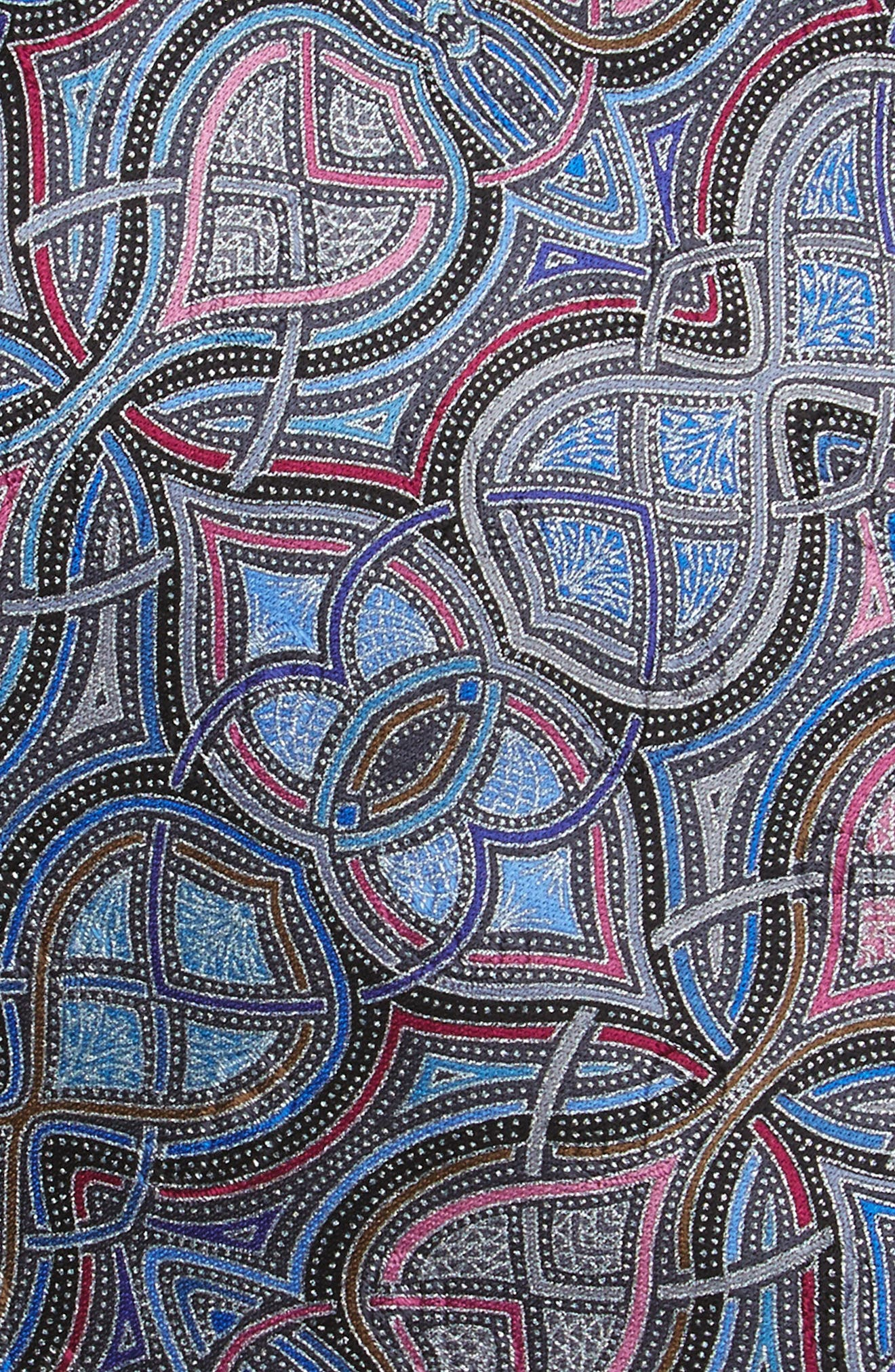 Geometric Silk Tie,                             Alternate thumbnail 2, color,                             Blue