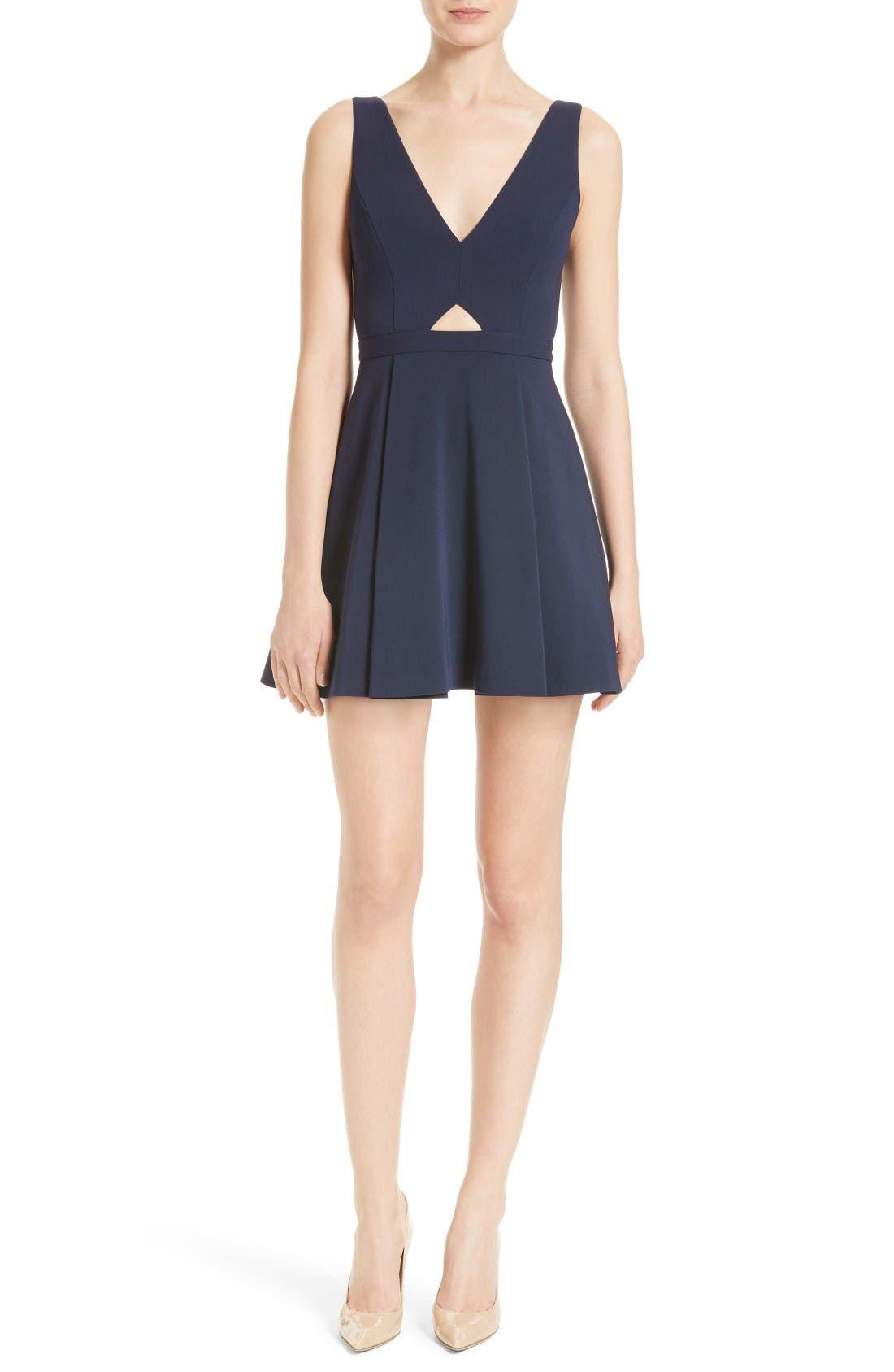 Nina Cutout Fit & Flare Dress,                         Main,                         color, Nayy