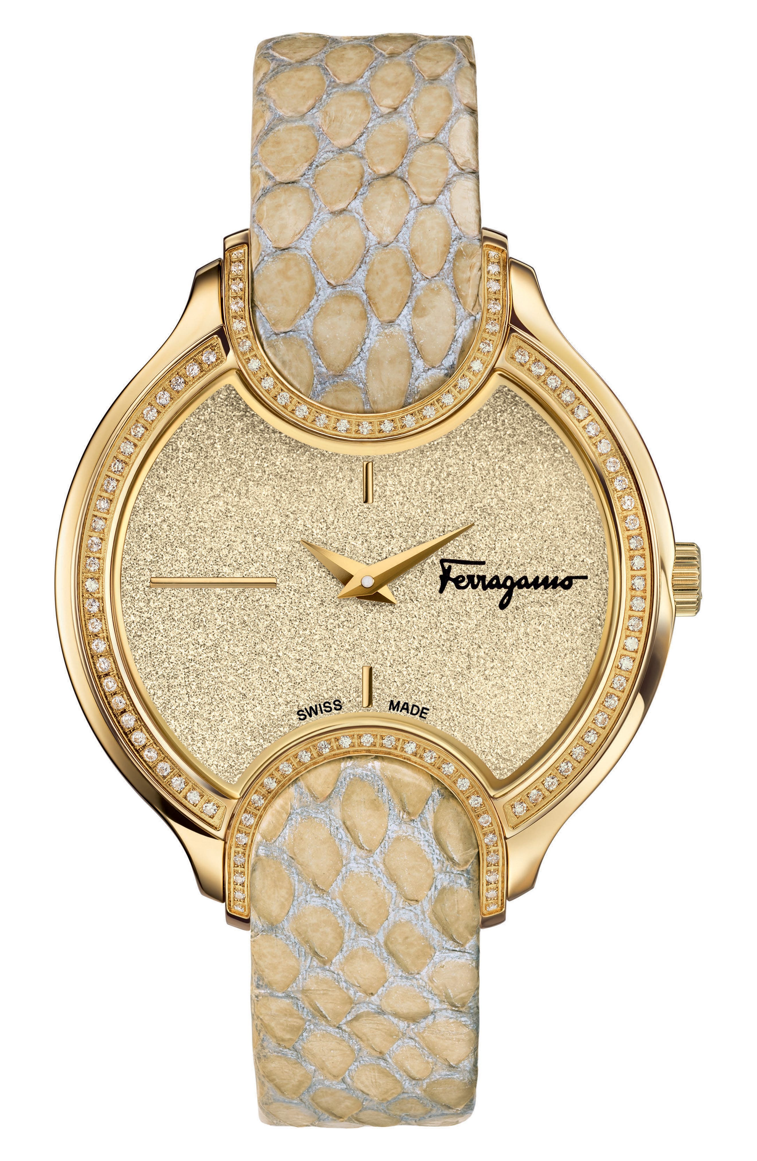 SALVATORE FERRAGAMO Diamond Snakeskin Strap Watch, 38mm