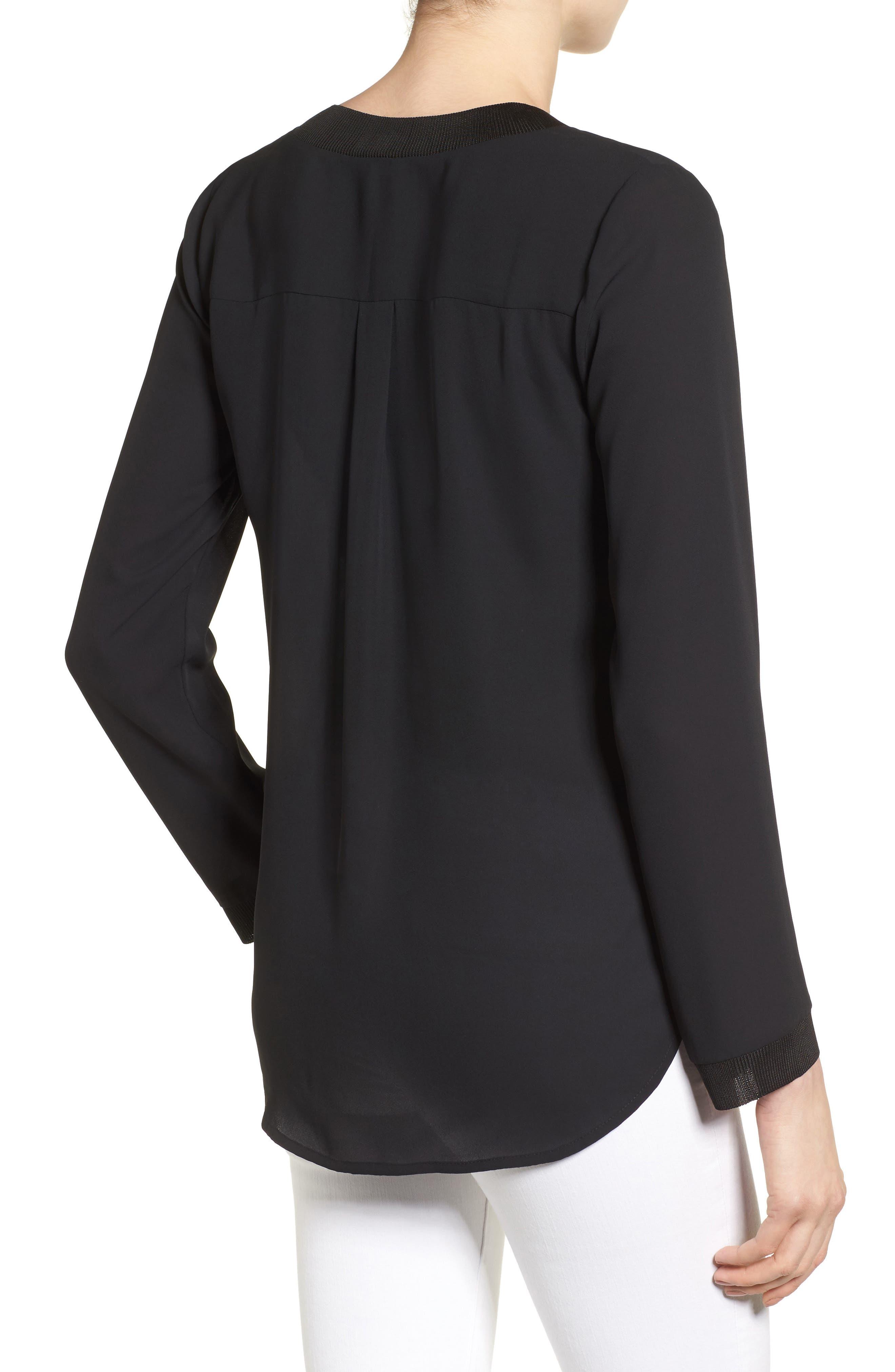 Alternate Image 2  - Halogen® Rib Trim Long Sleeve Blouse