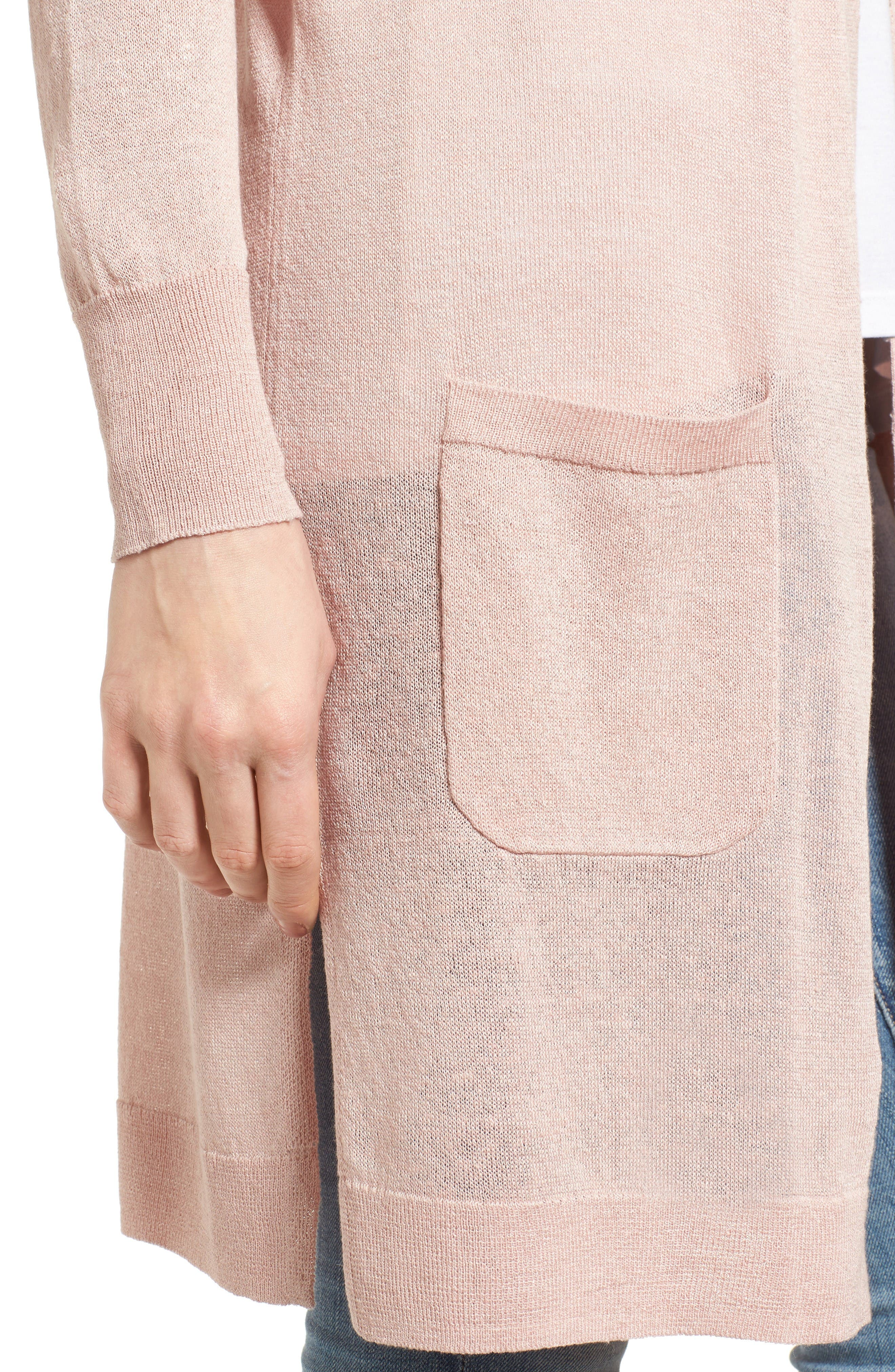 Alternate Image 4  - Halogen® Long Linen Blend Cardigan (Regular & Petite)