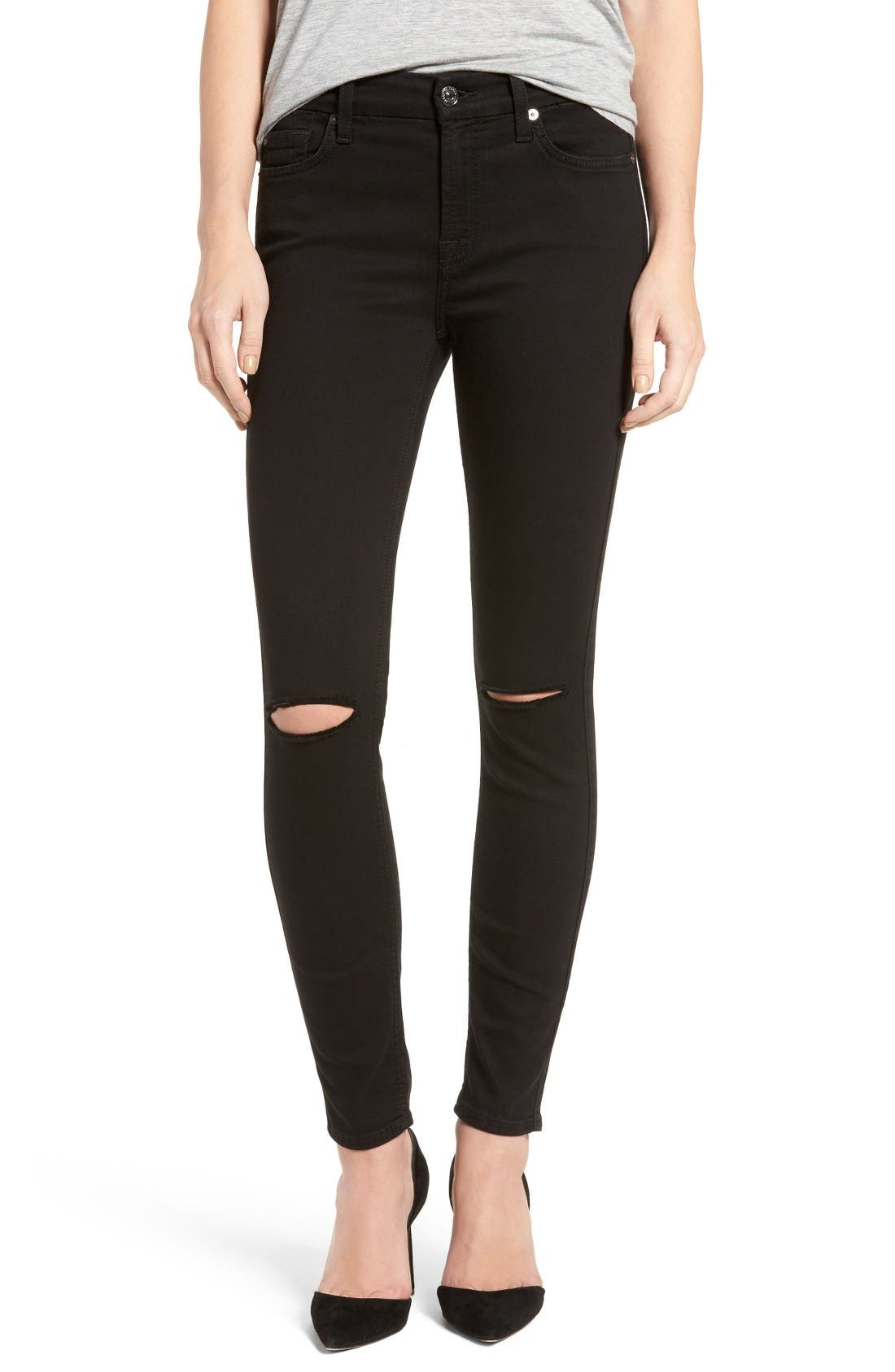'b(air)' Ankle Skinny Jeans,                             Main thumbnail 1, color,                             Bair Black 2