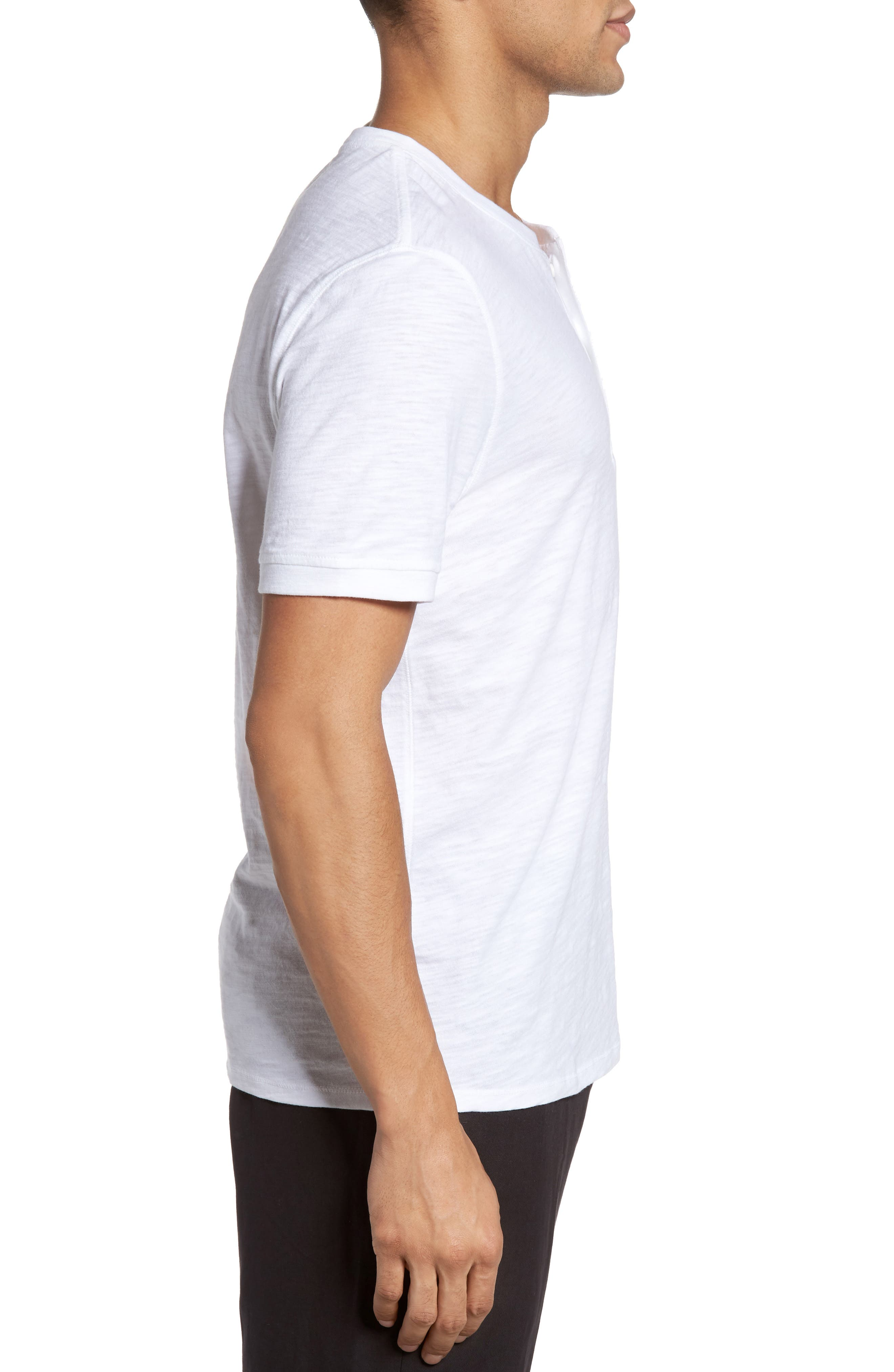 Slub Henley,                             Alternate thumbnail 3, color,                             White