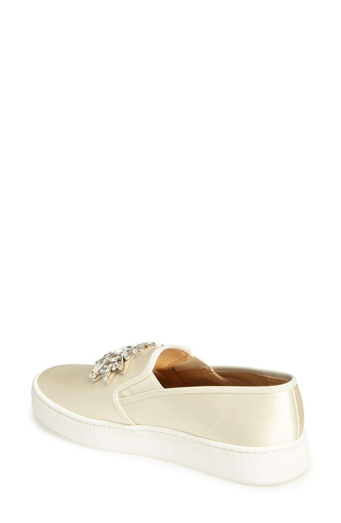 Barre Crystal Embellished Slip-On Sneaker,                             Alternate thumbnail 2, color,                             Ivory Satin