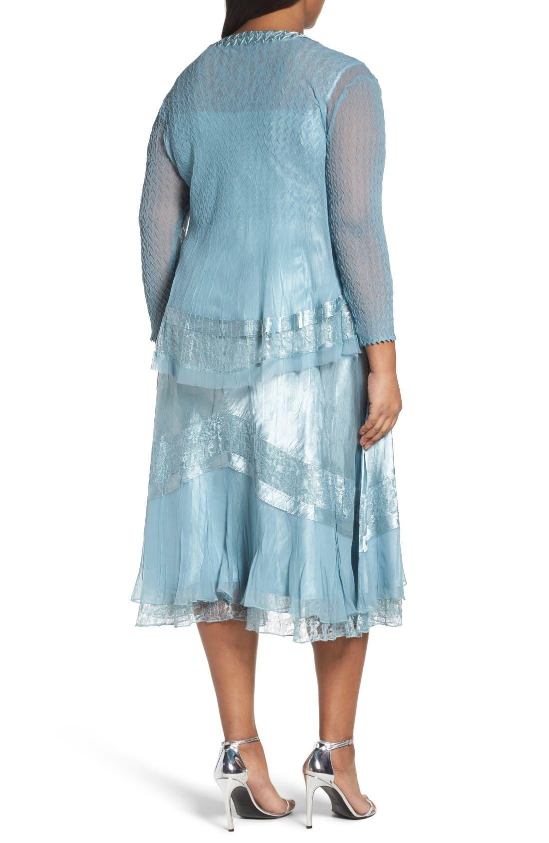 Alternate Image 2  - Komarov Lace Trim Jacket Dress (Plus Size)