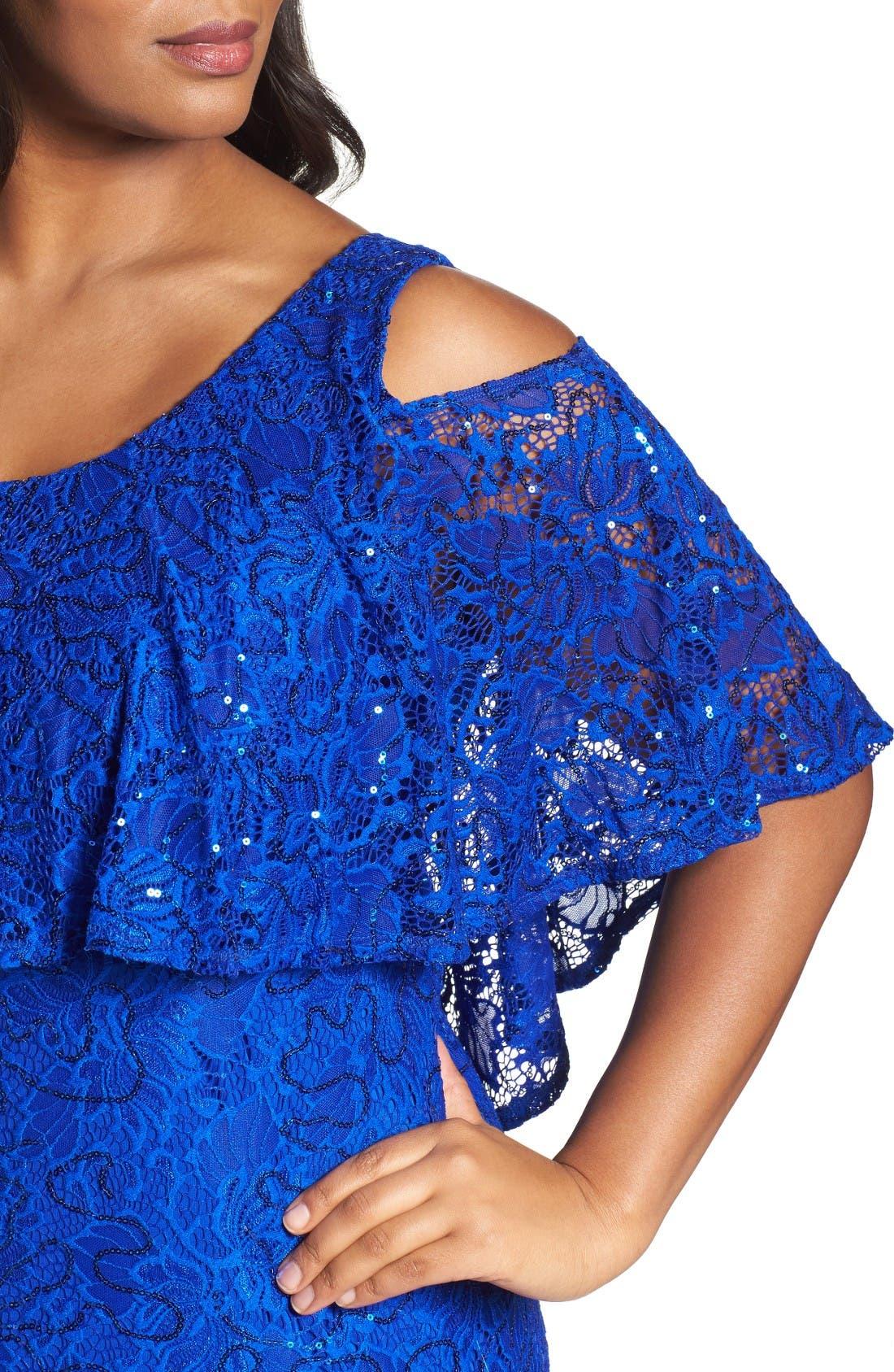 Alternate Image 4  - Marina Sequin Lace Cold Shoulder Long Dress (Plus Size)