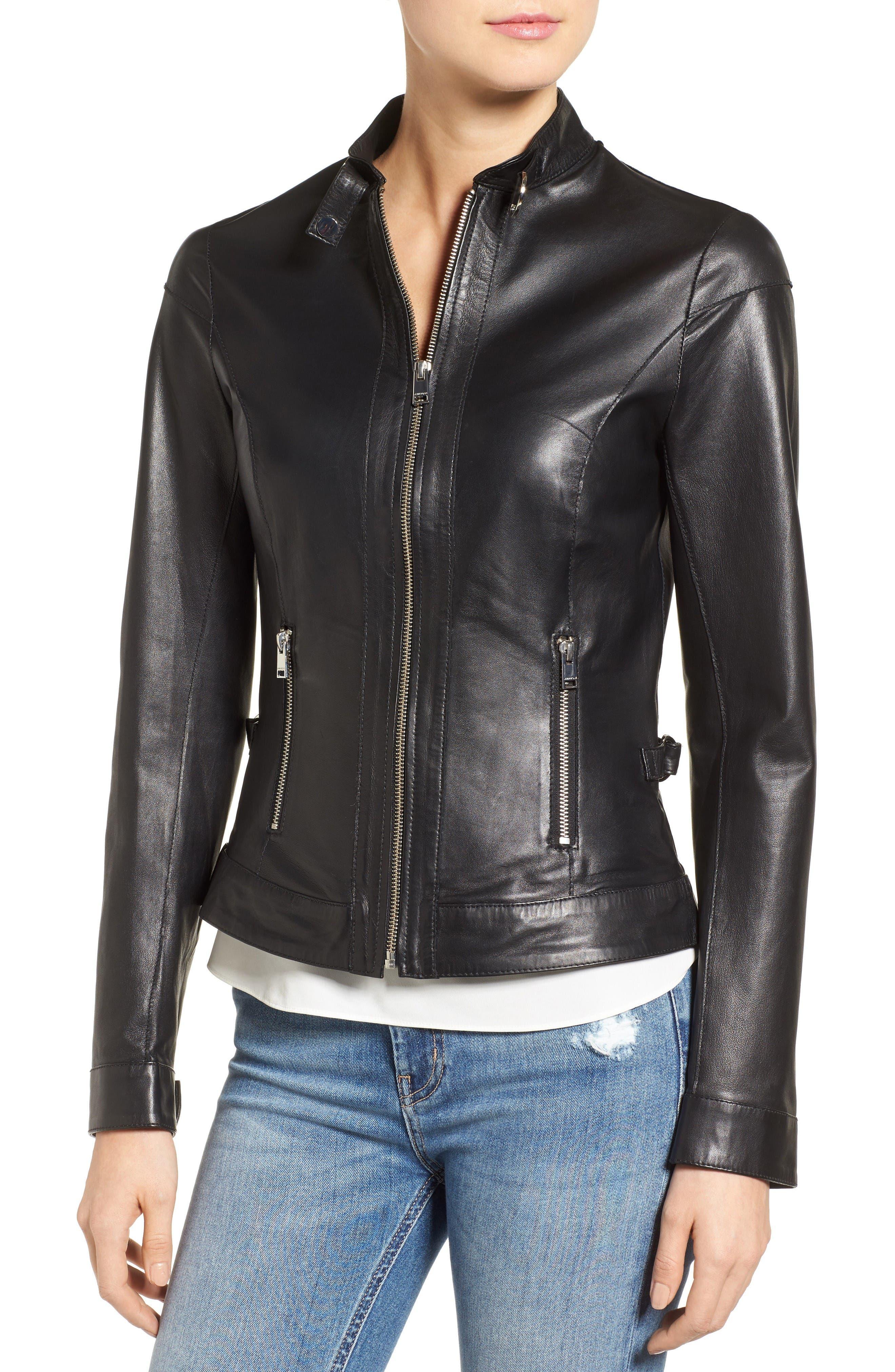 Alternate Image 4  - LAMARQUE Lambskin Leather Biker Jacket