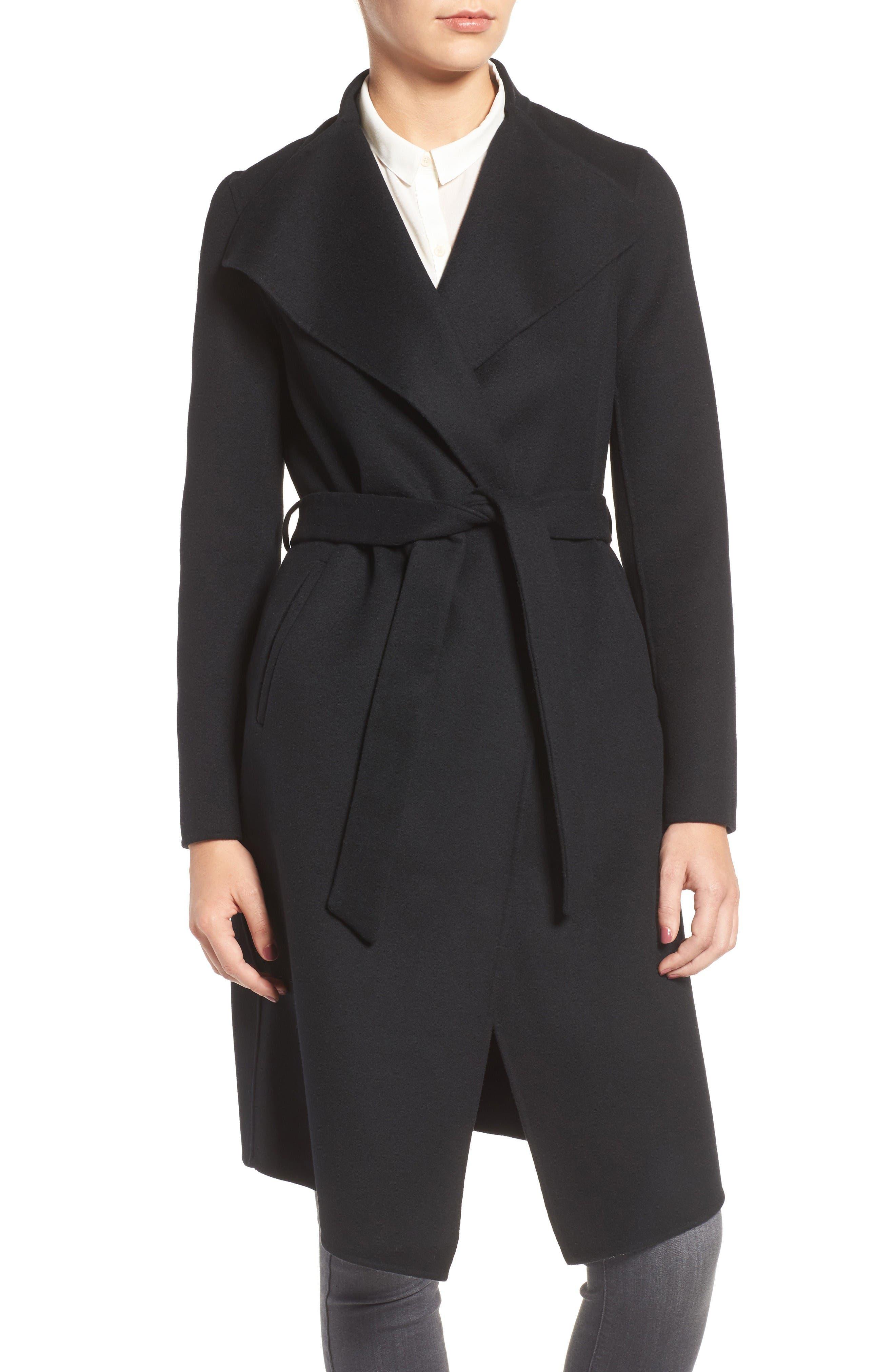 Belted Long Wool Coat,                             Alternate thumbnail 4, color,                             Black
