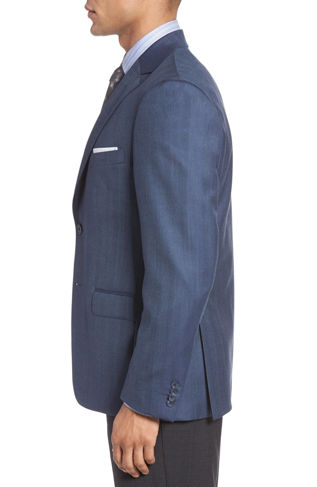 Classic Fit Herringbone Wool Sport Coat,                             Alternate thumbnail 3, color,                             Blue