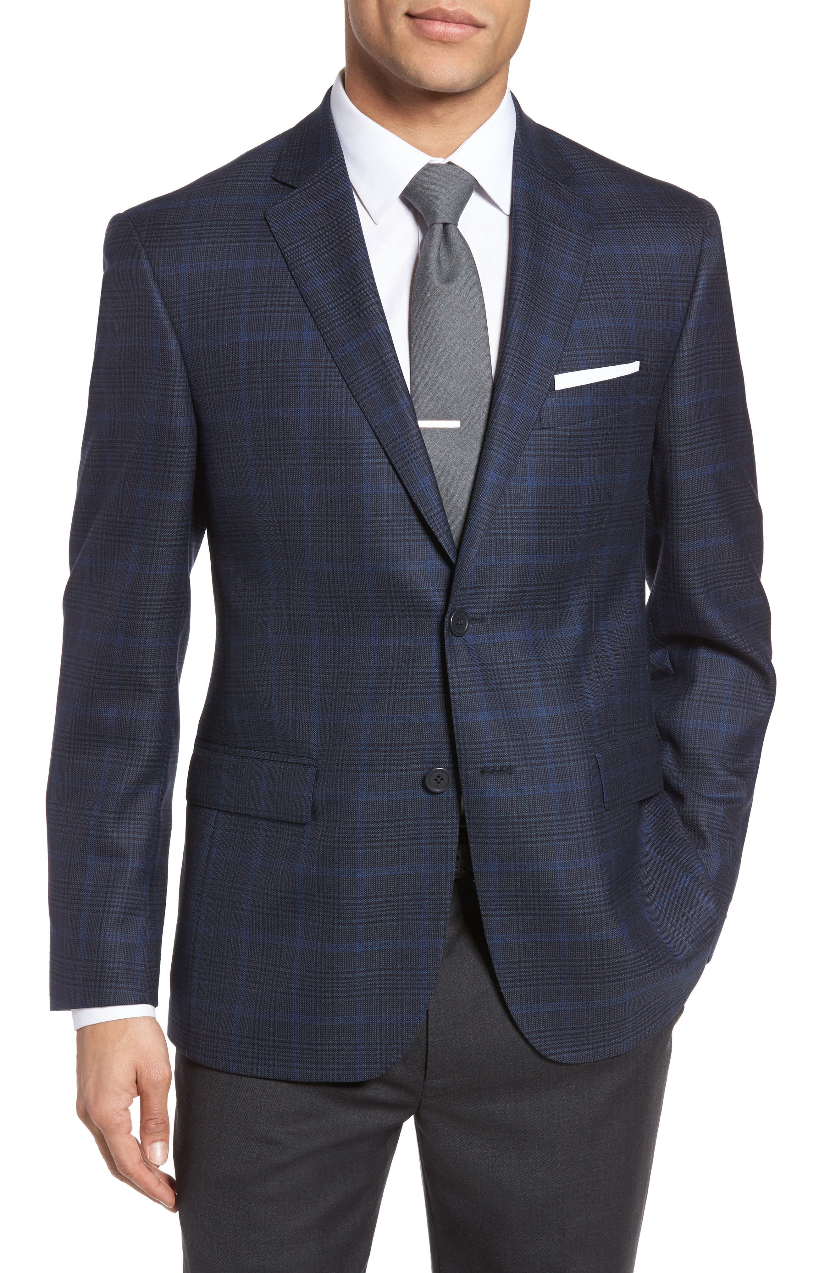 Classic Fit Plaid Wool Sport Coat,                         Main,                         color, Navy