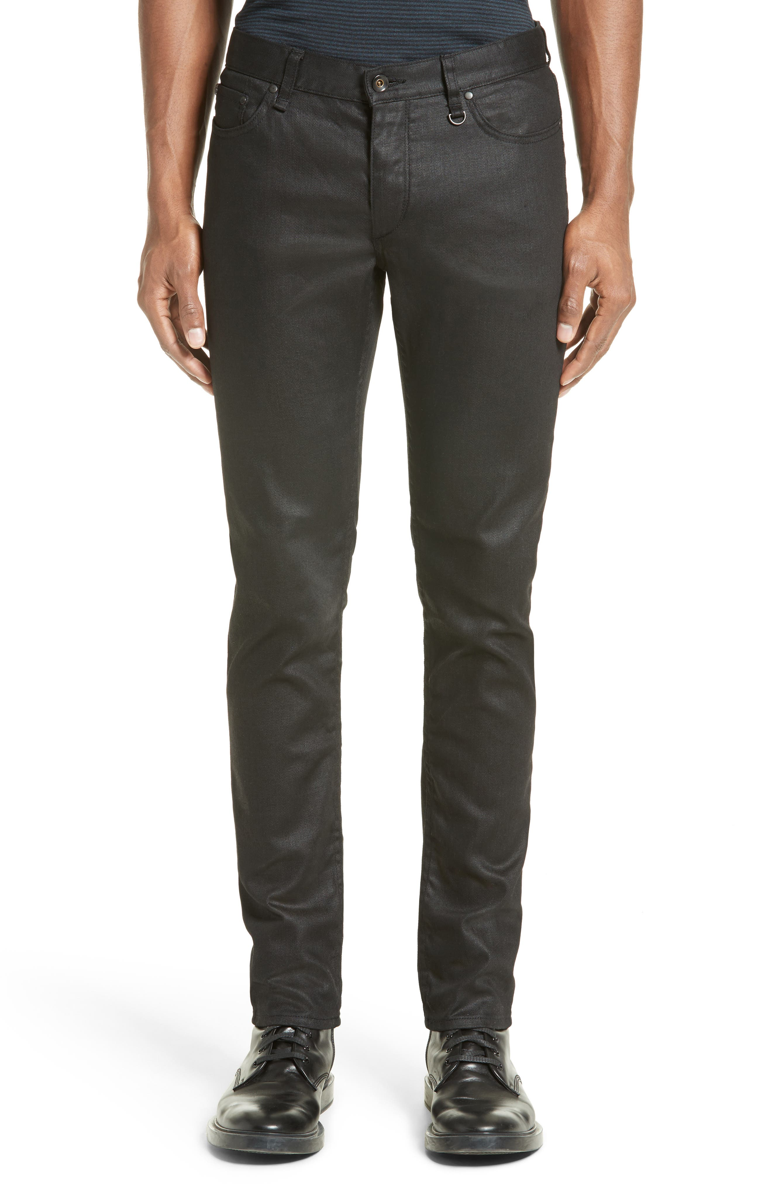Collection Skinny Fit Coated Jeans,                         Main,                         color, Black
