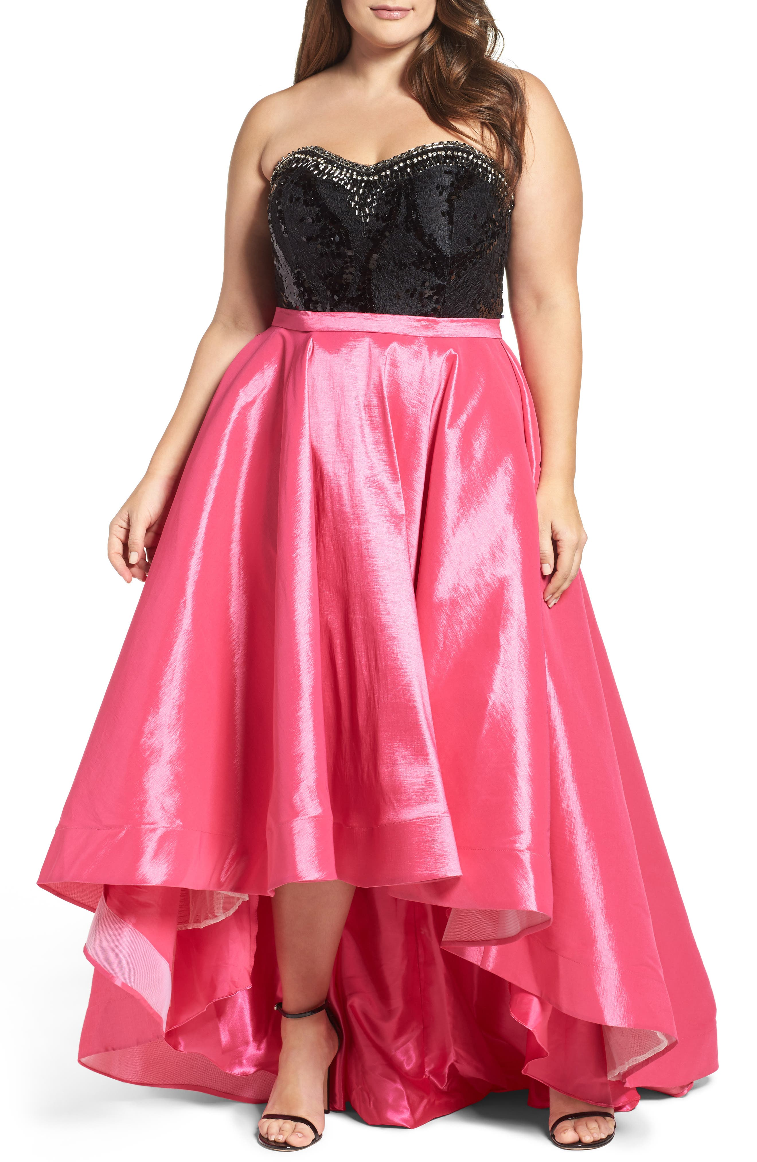 Embellished Lace & Taffeta Strapless High/Low Gown,                             Main thumbnail 1, color,                             Hot Pink/ Black