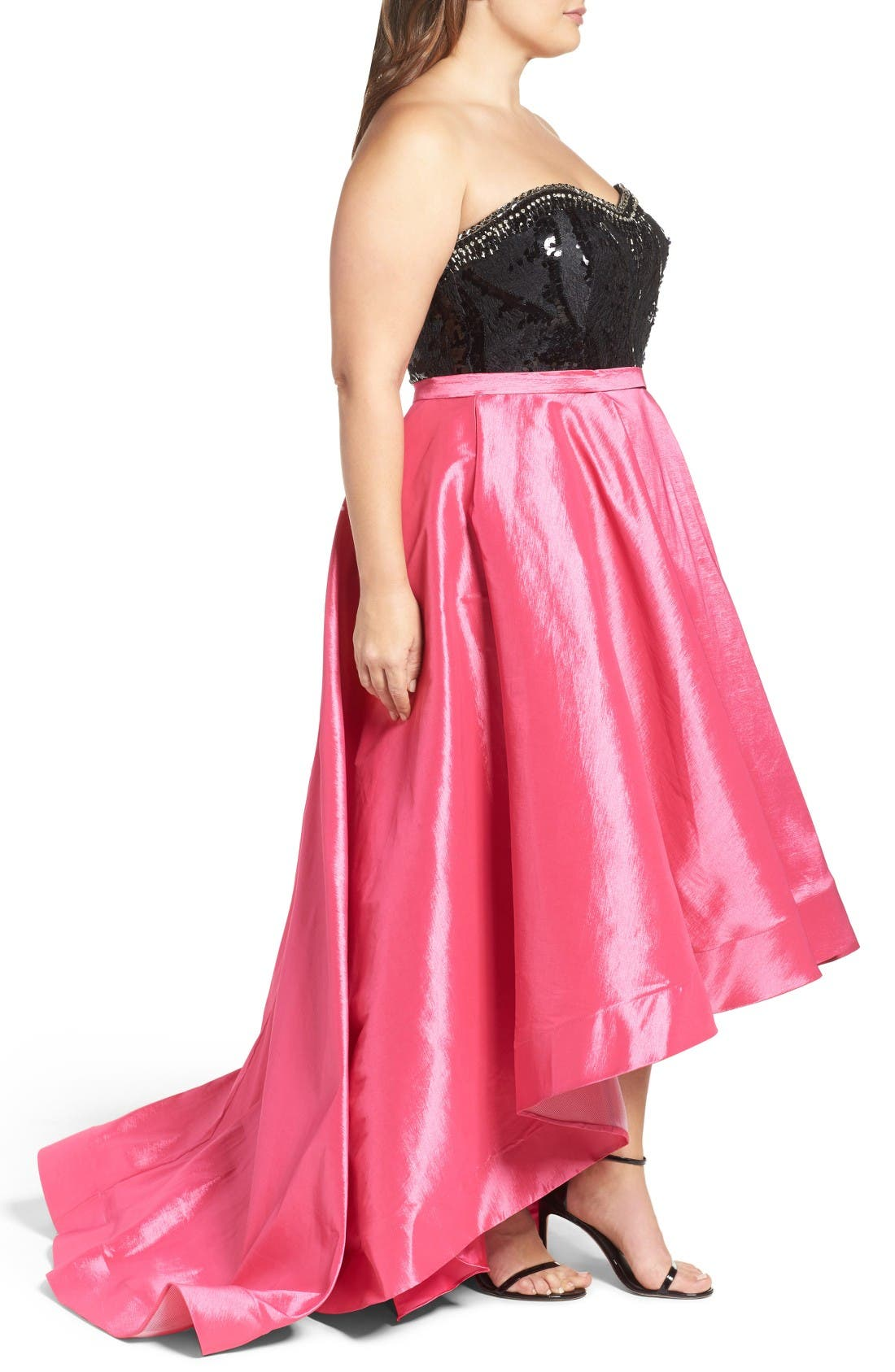 Embellished Lace & Taffeta Strapless High/Low Gown,                             Alternate thumbnail 3, color,                             Hot Pink/ Black