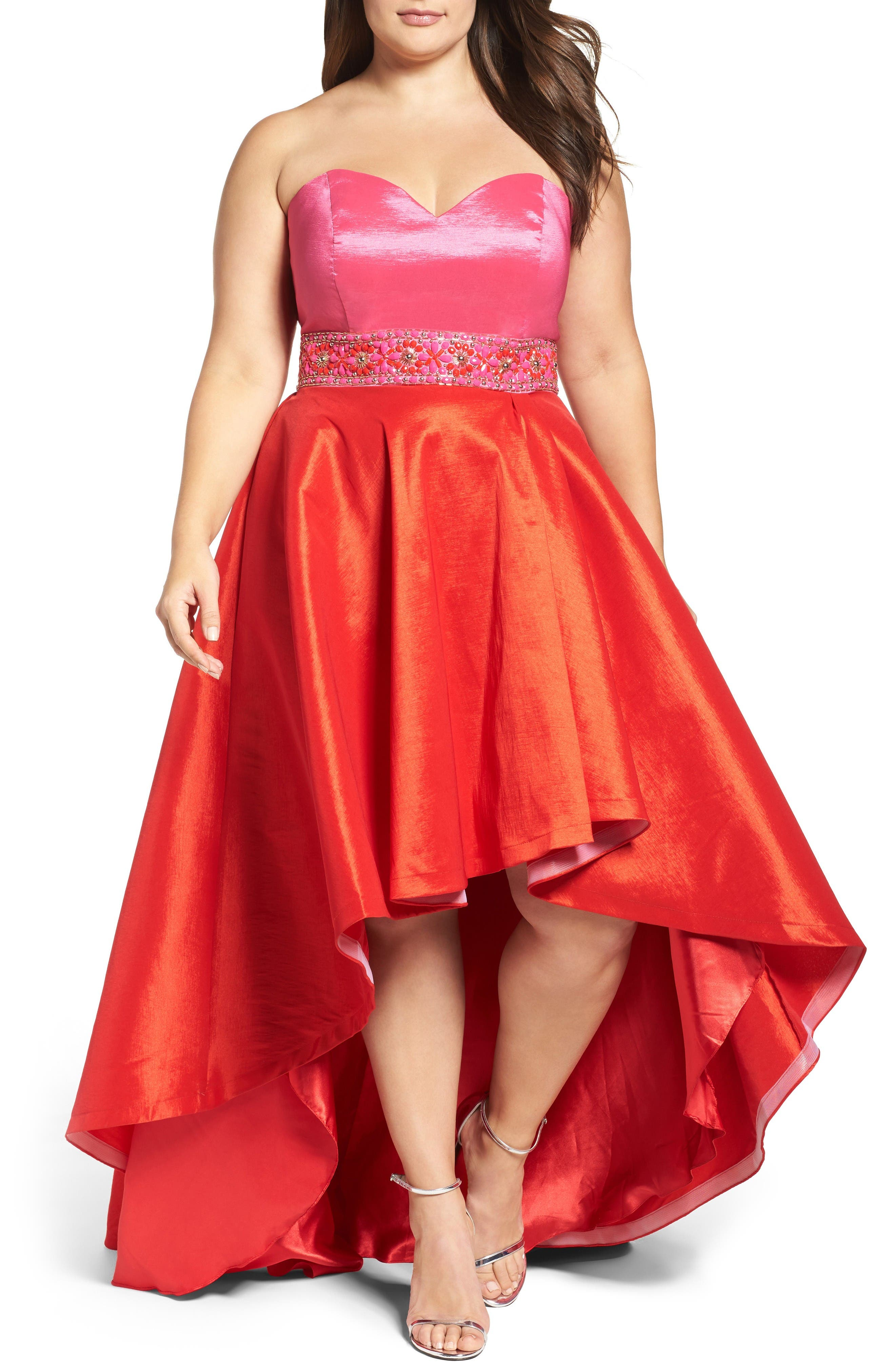 Strapless Colorblock High/Low Gown,                             Main thumbnail 1, color,                             Hot Pink/ Cherry