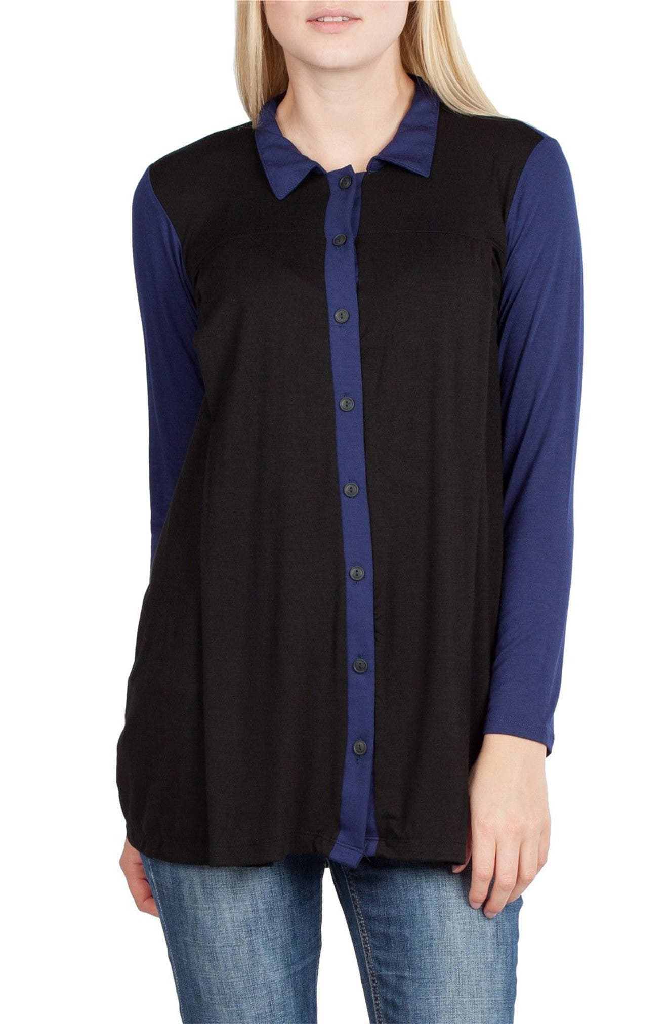 Berlin Maternity/Nursing Tunic Top,                             Alternate thumbnail 3, color,                             Black/ Navy Contrast