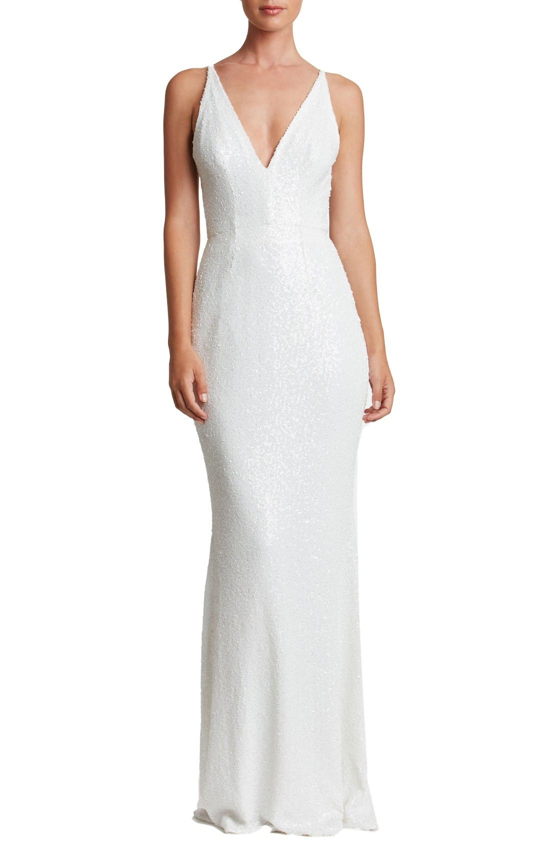 47aaac14cbdc7 DRESS THE POPULATION HARPER MERMAID GOWN, WHITE | ModeSens