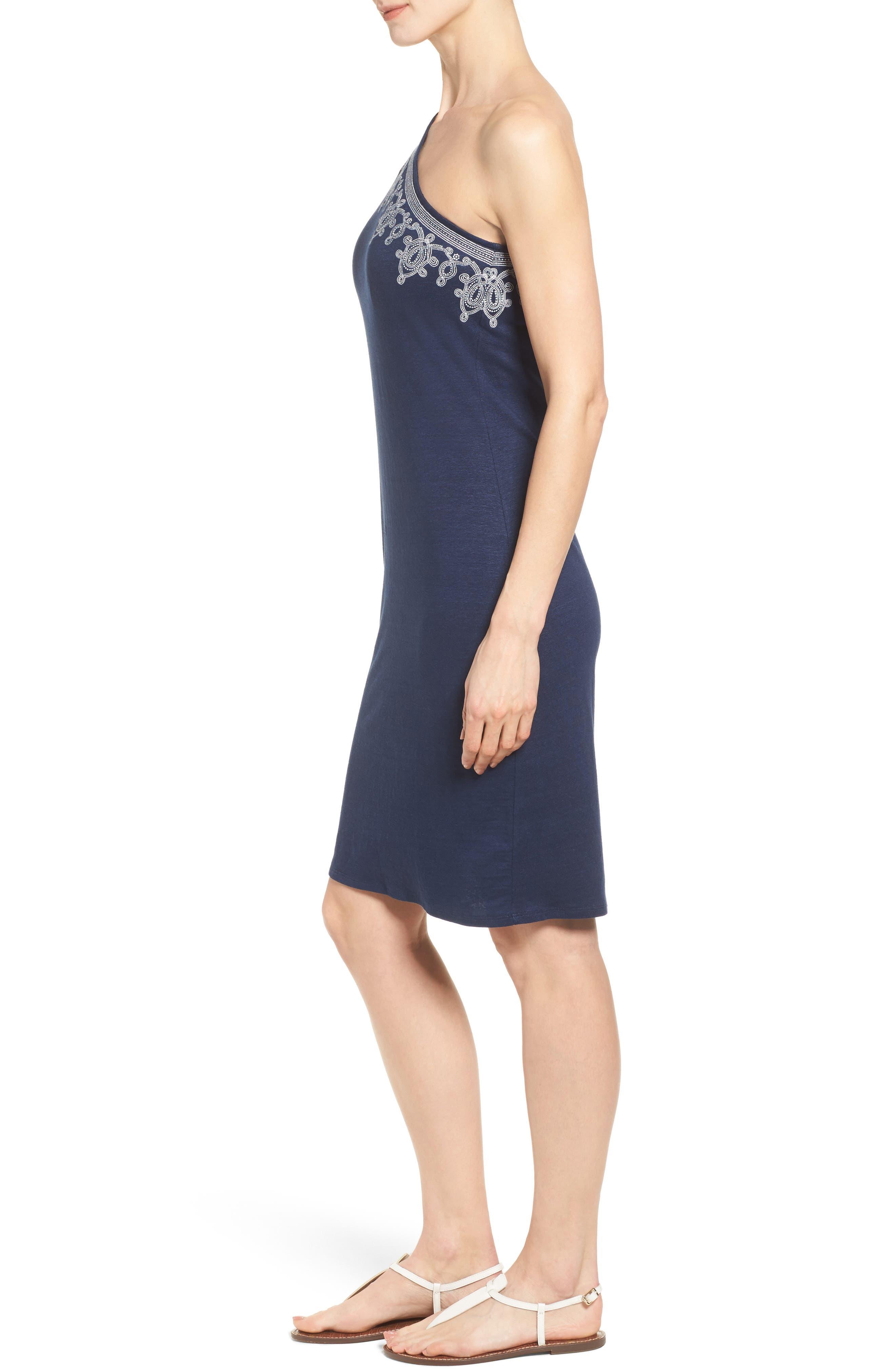 Lovelin One-Shoulder Dress,                             Alternate thumbnail 3, color,                             Ocean Deep
