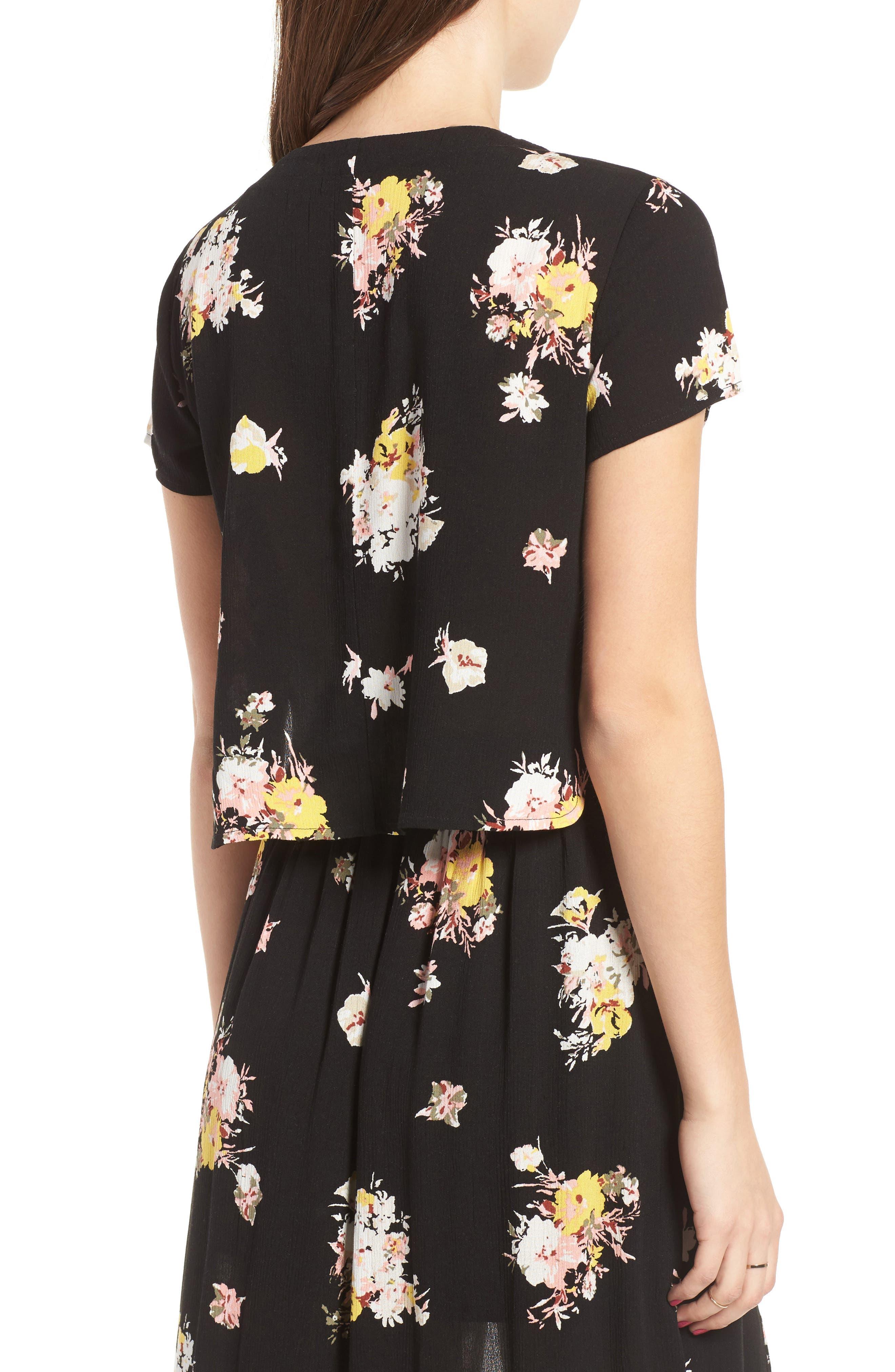 Coordinating Lace-Up Crop Top,                             Alternate thumbnail 3, color,                             Black Blush Floral