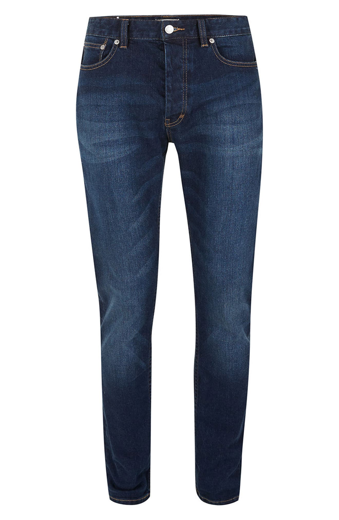 Alternate Image 6  - Topman Stretch Slim Fit Jeans (Mid Blue)