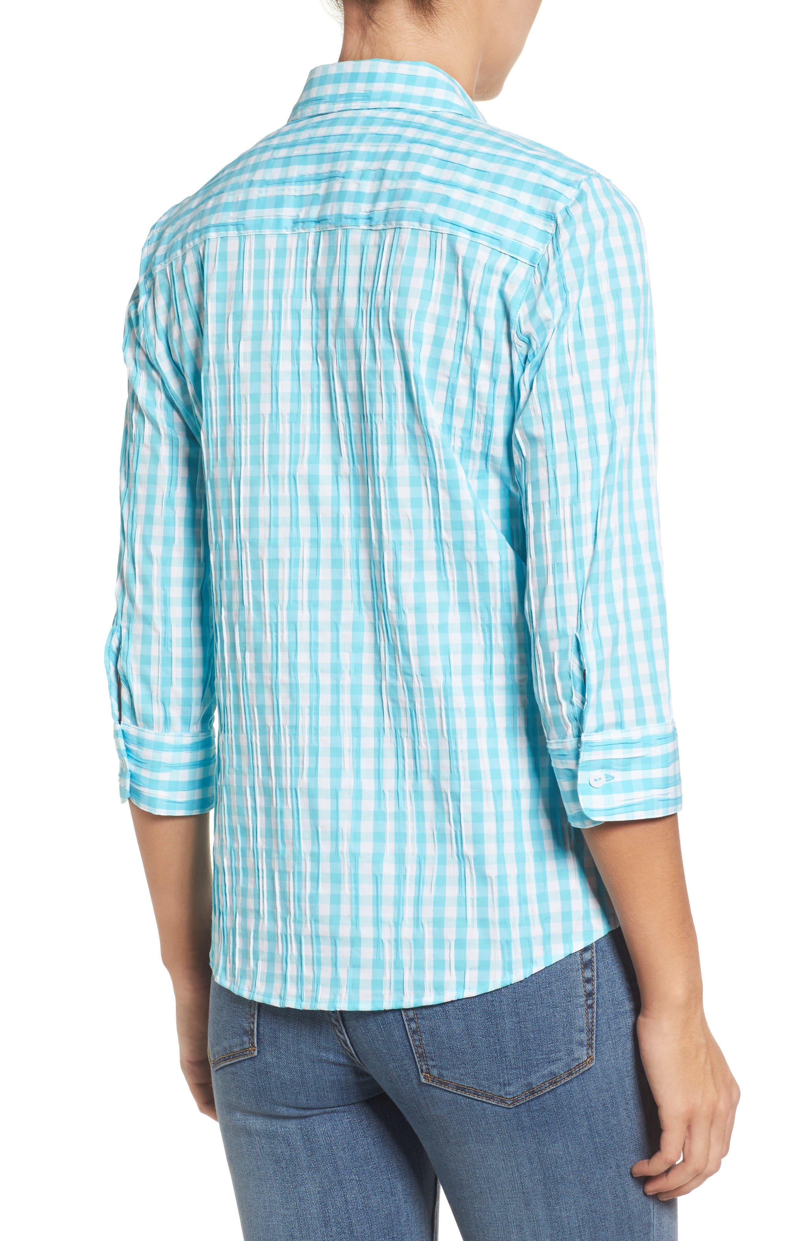 Alternate Image 2  - Foxcroft Crinkled Gingham Shirt (Regular & Petite)