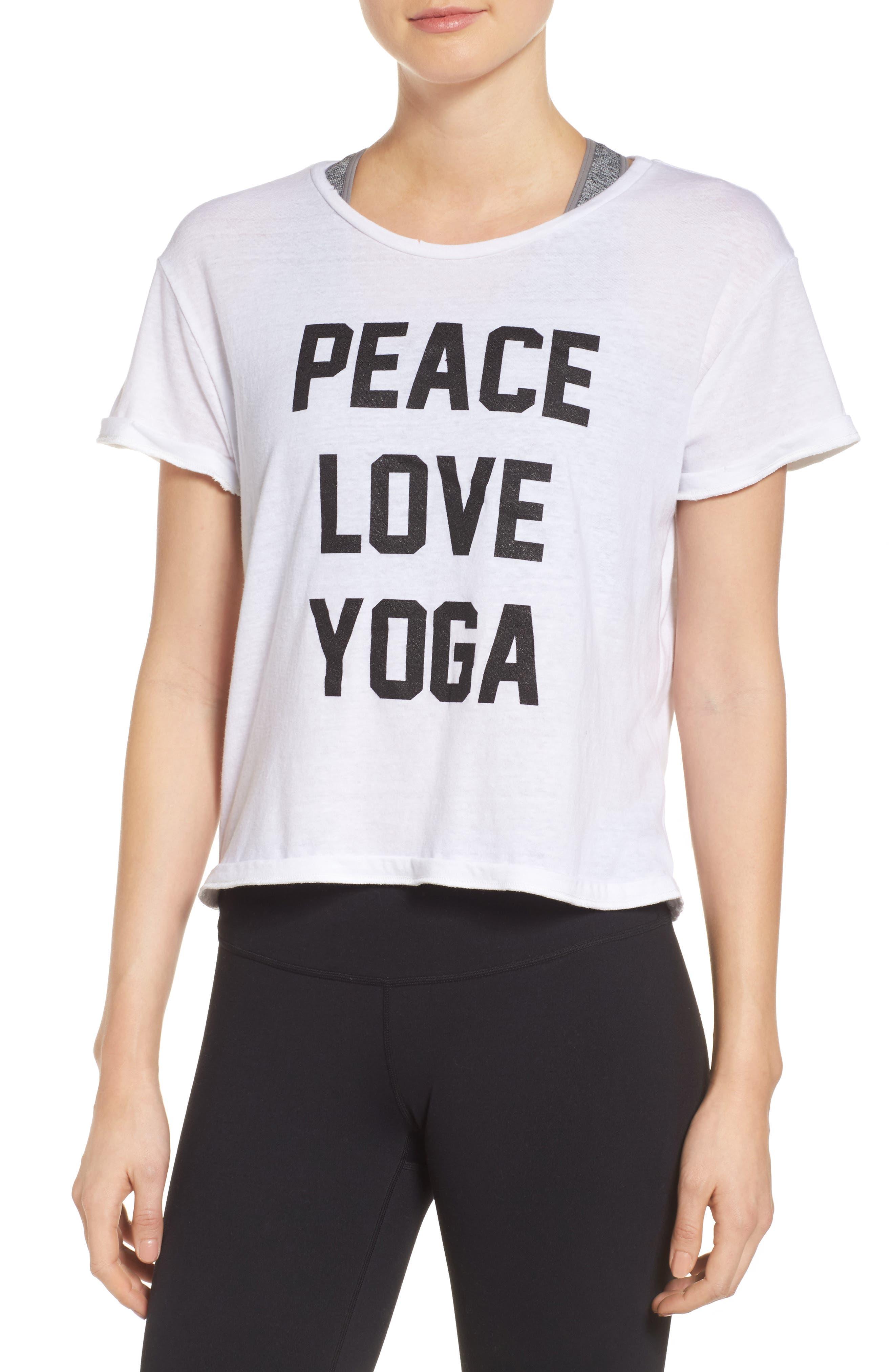 Peace Love Yoga Tee,                         Main,                         color, White