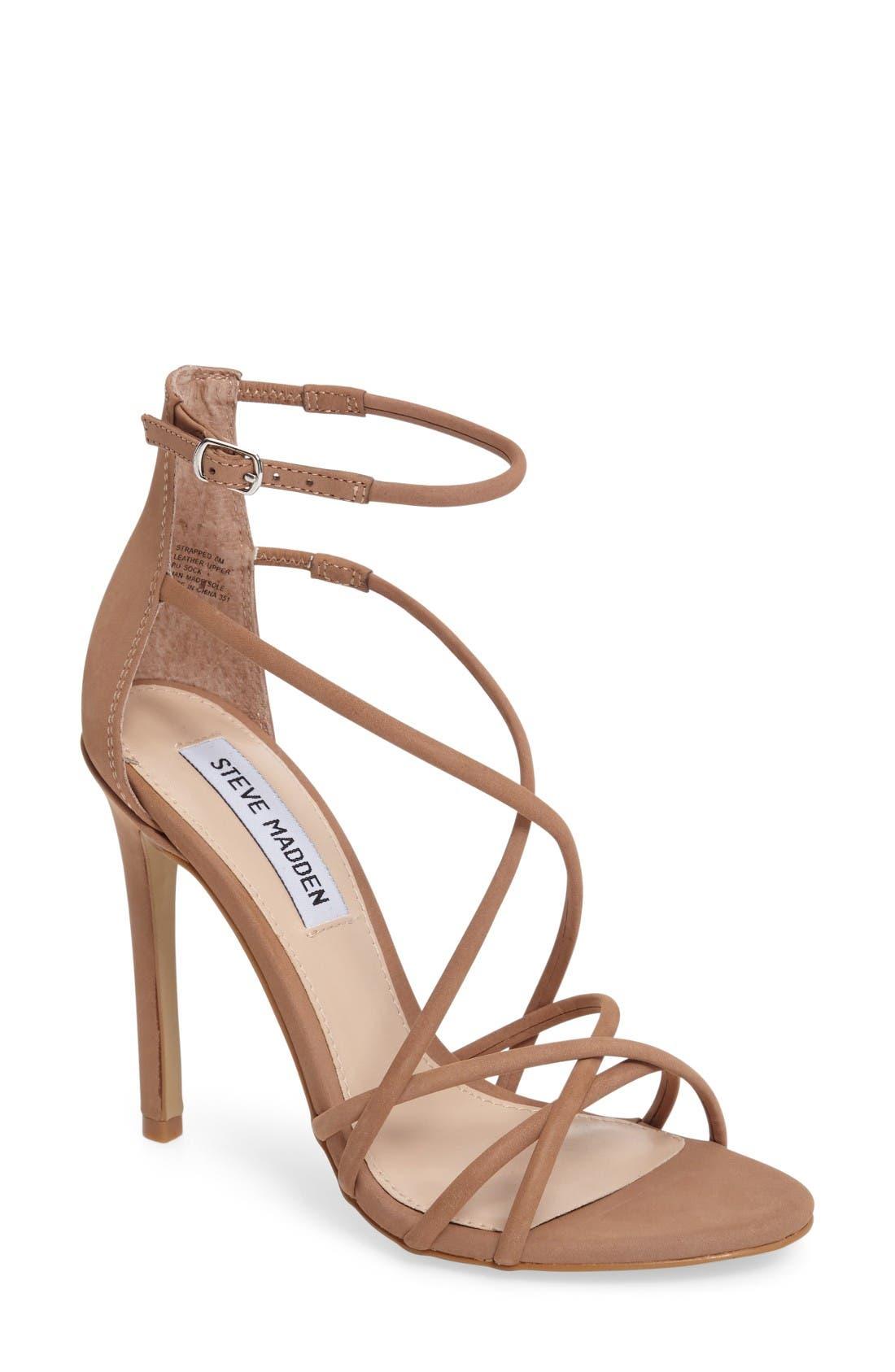 Strappy Sandal,                         Main,                         color, Camel Nubuck Leather