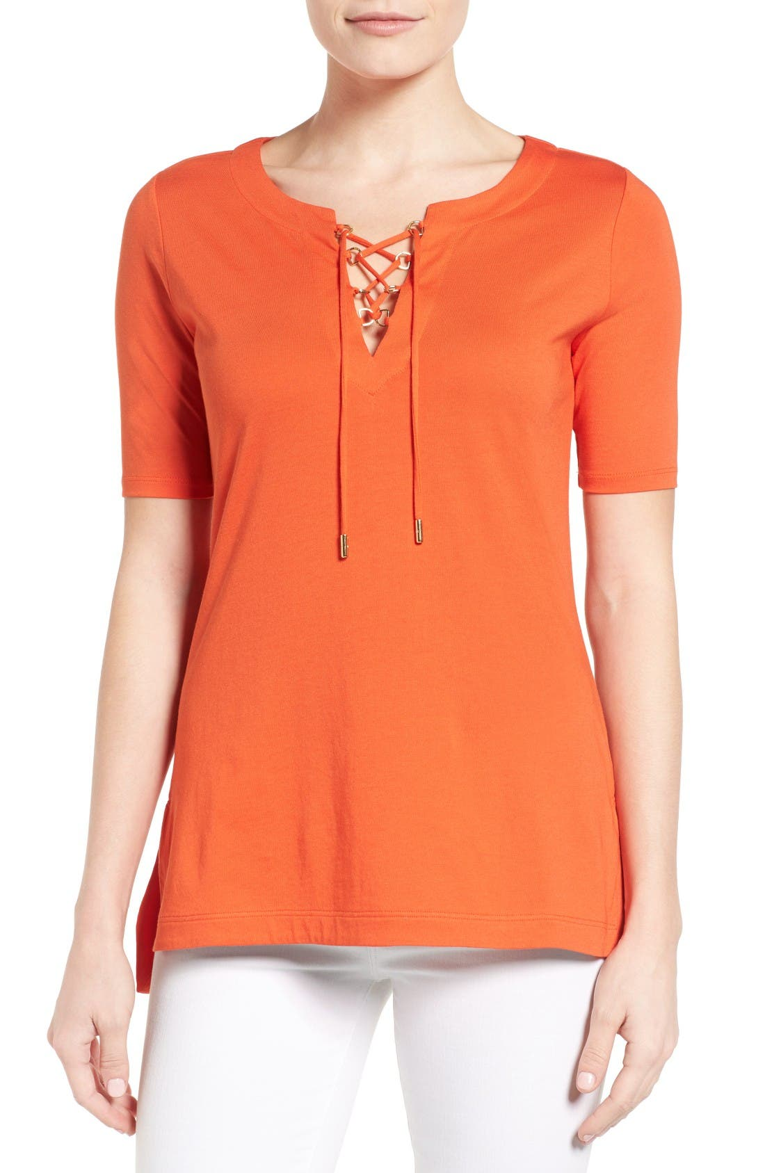 Alternate Image 1 Selected - MICHAEL Michael Kors Lace-Up Tee