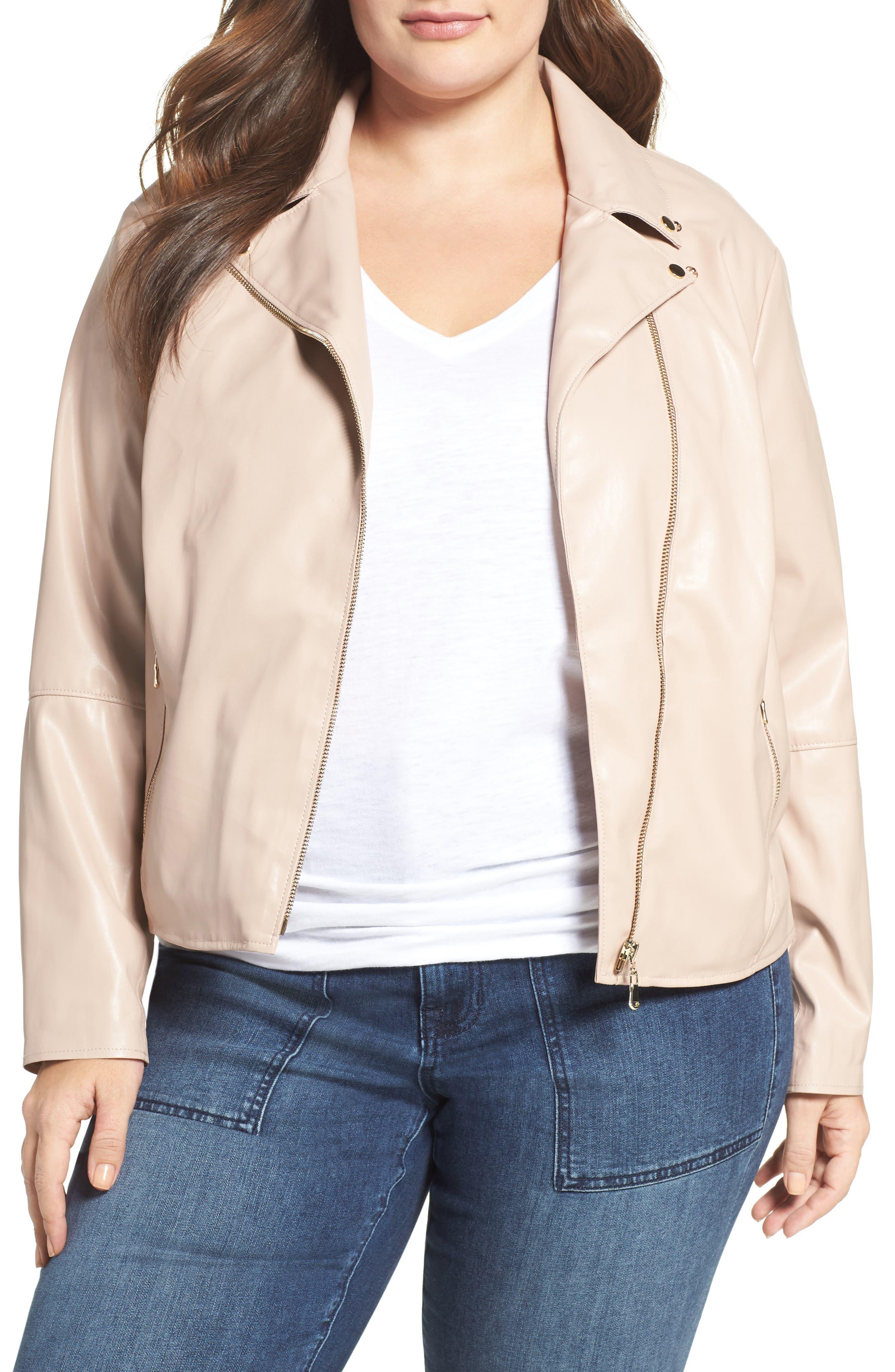 Mollie Faux Leather Jacket,                         Main,                         color, Rose Dust