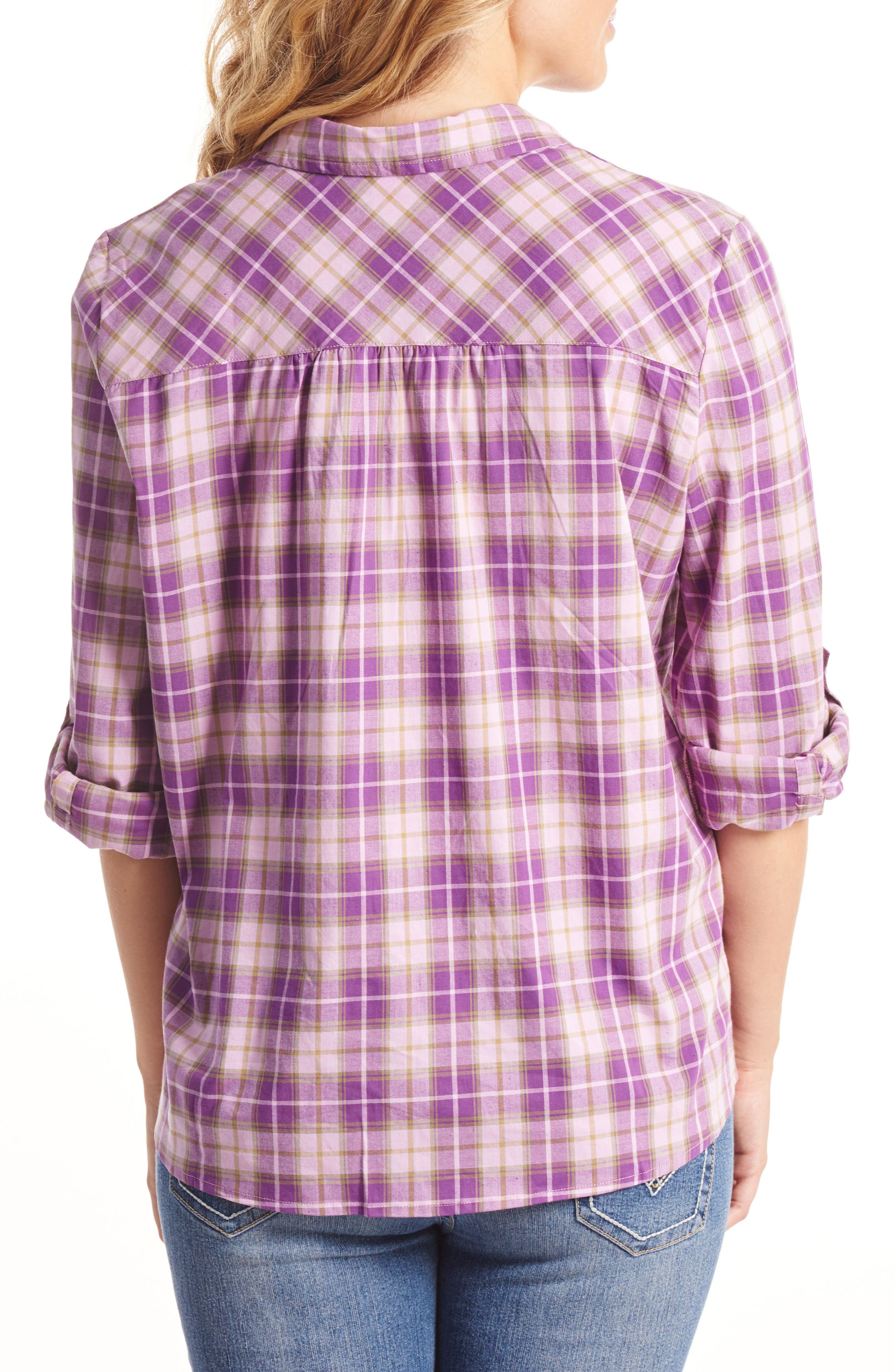 'Batina' Maternity Shirt,                             Alternate thumbnail 2, color,                             Lilac Plaid