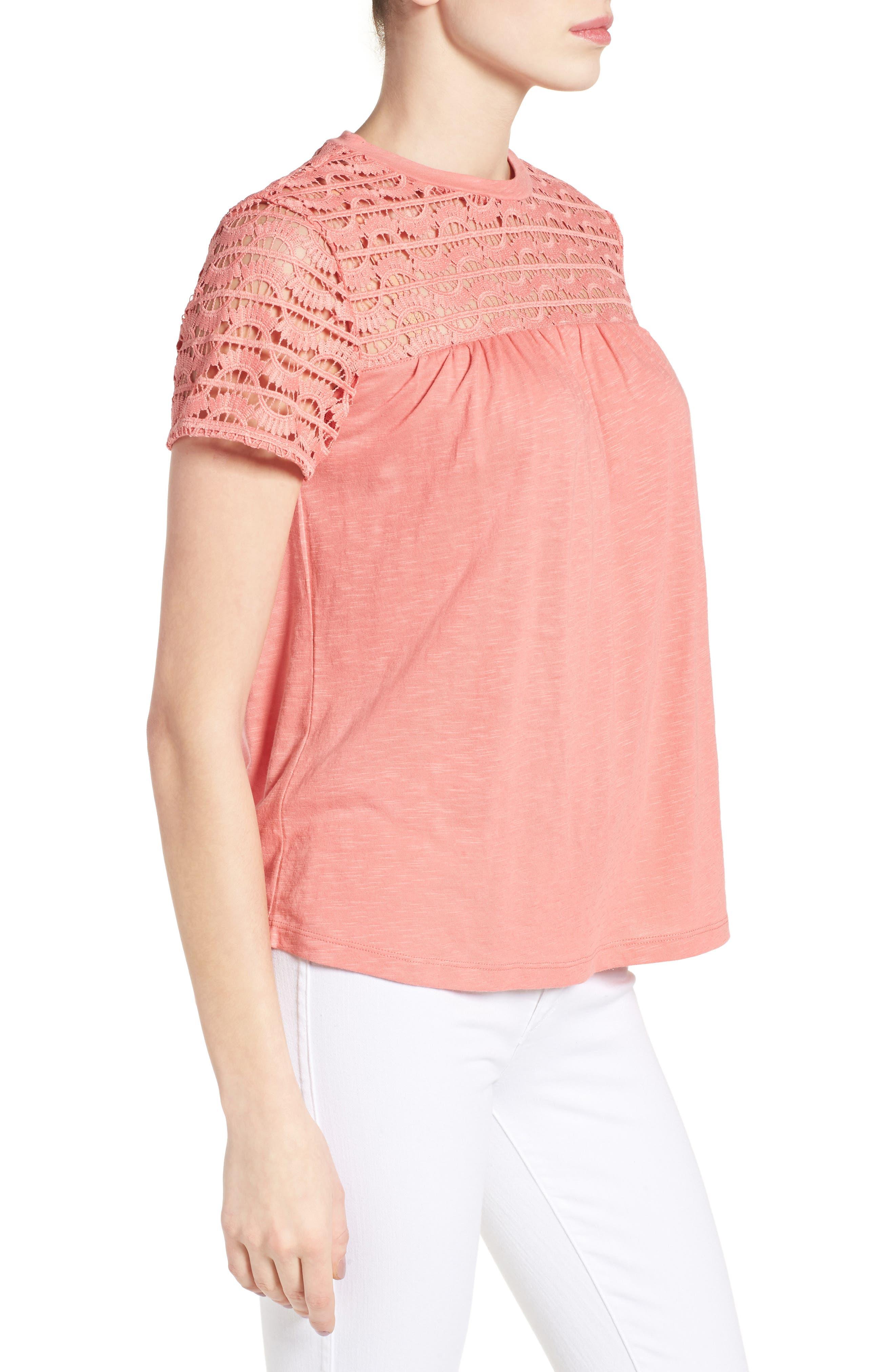 Alternate Image 3  - Caslon® Lace Yoke Knit Top (Regular and Petite)
