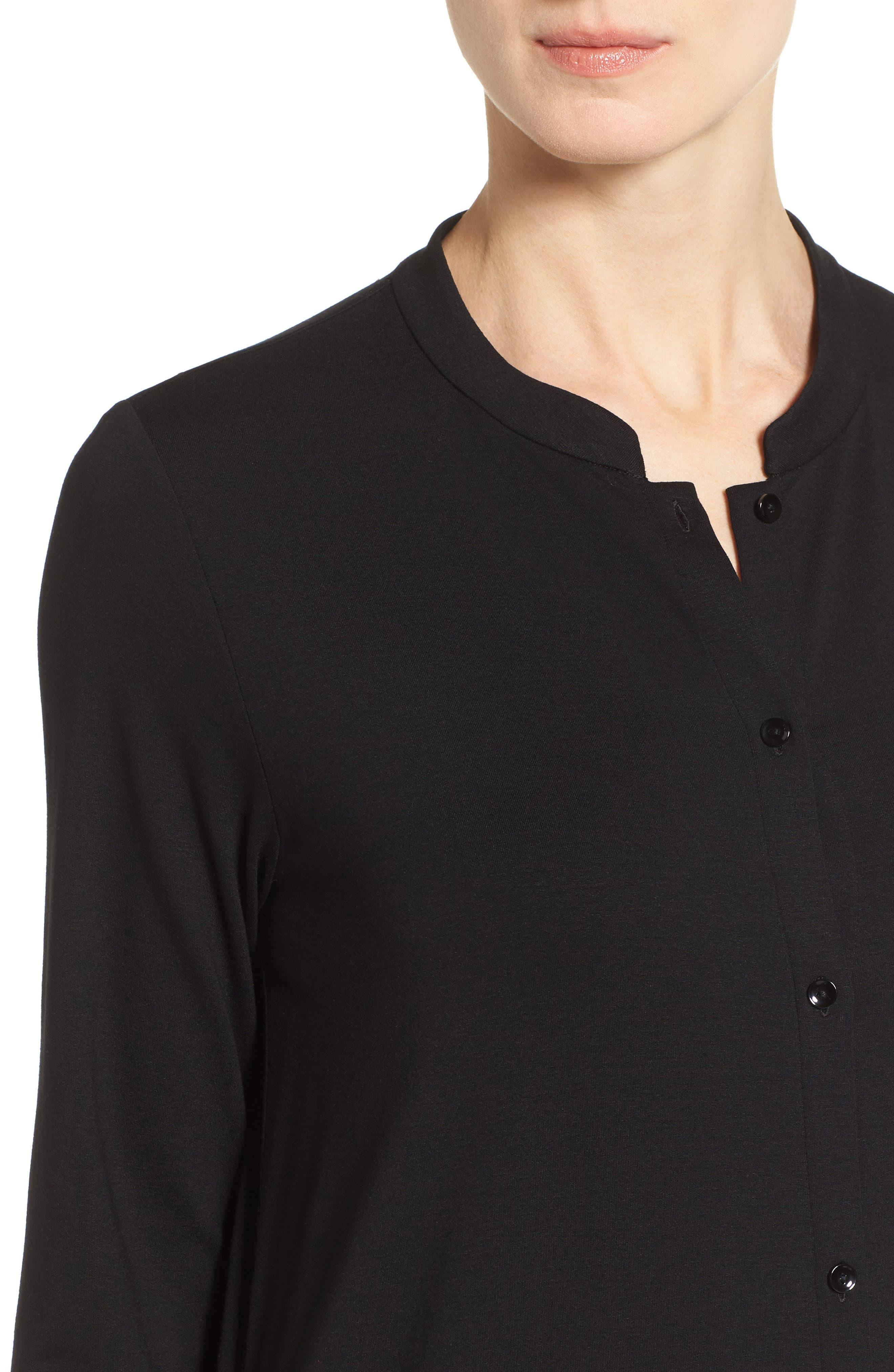 Alternate Image 4  - Eileen Fisher Mandarin Collar Jersey Shirtdress (Regular & Petite)