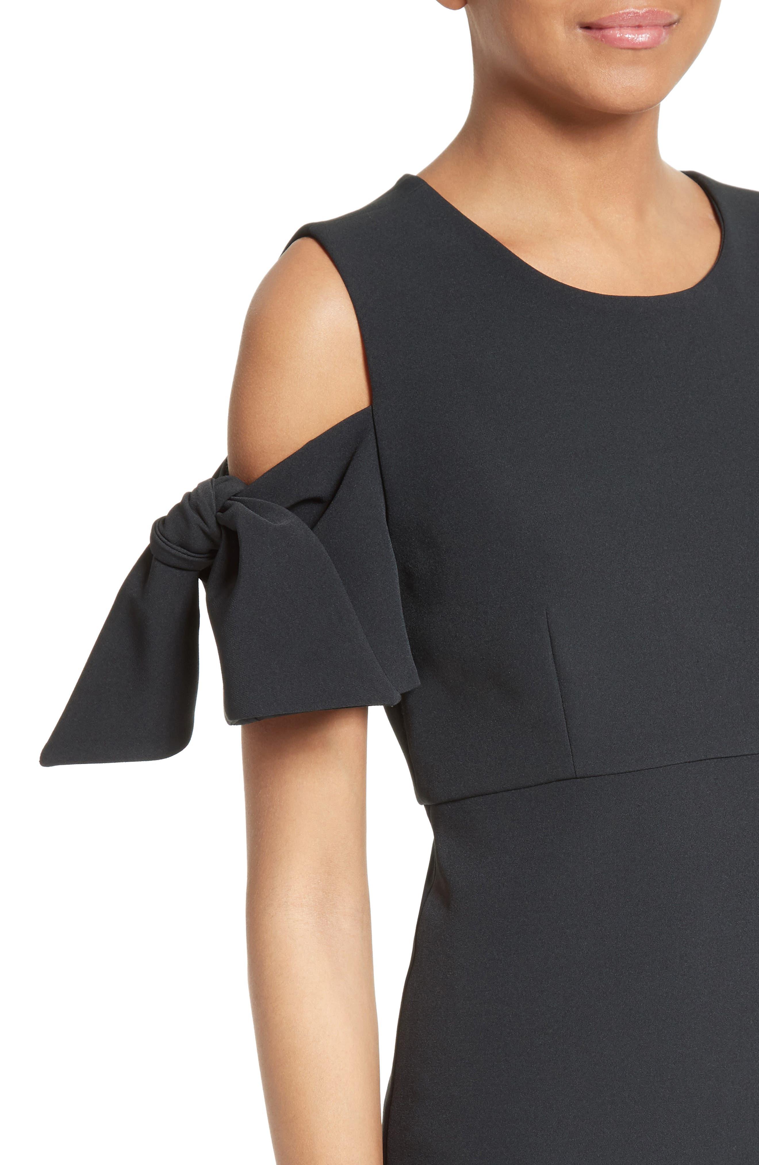 Stretch Crepe Cold Shoulder Minidress,                             Alternate thumbnail 4, color,                             Black