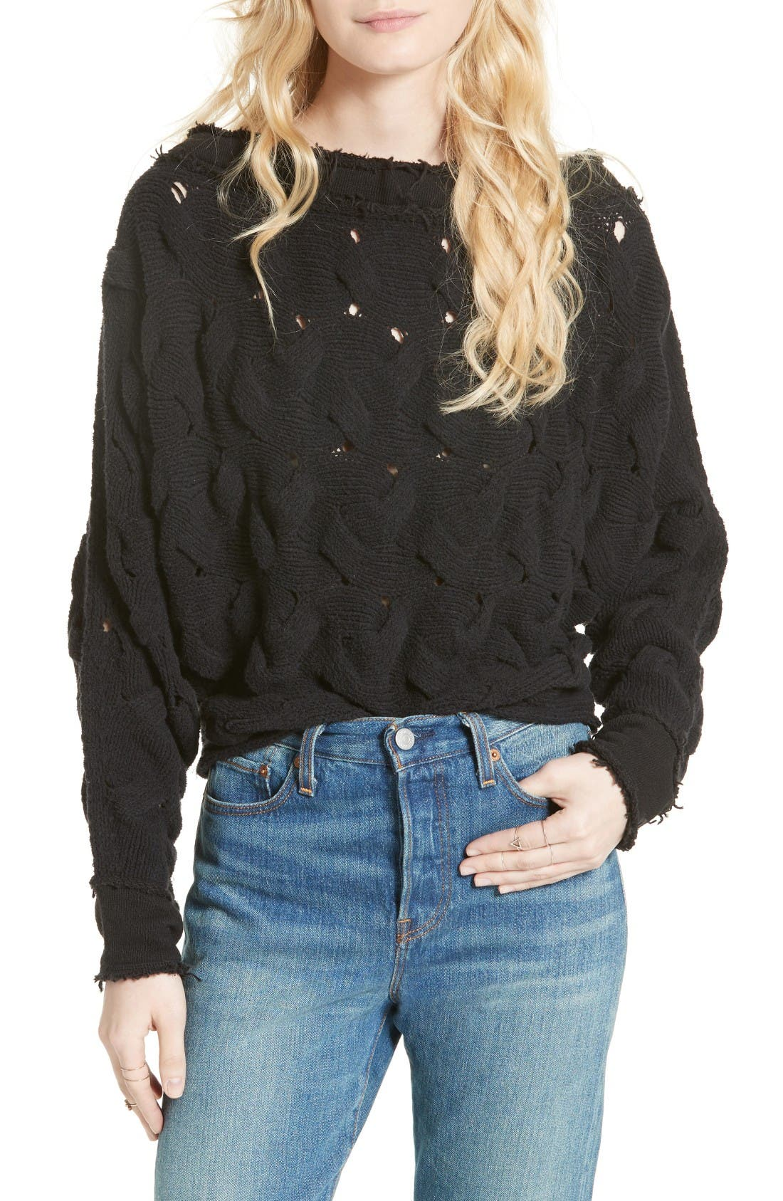 Desert Sands Cable Pullover,                         Main,                         color, Black