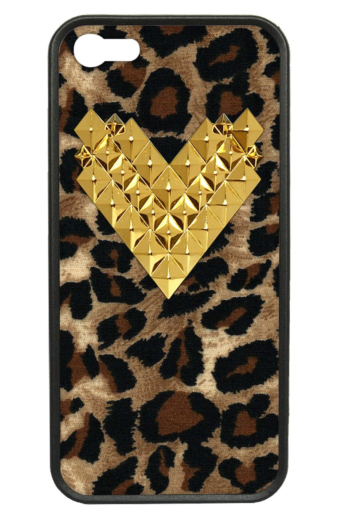 Alternate Image 1 Selected - wildflower 'Cheetah Gold Studded Heart' iPhone 5 &5s Case