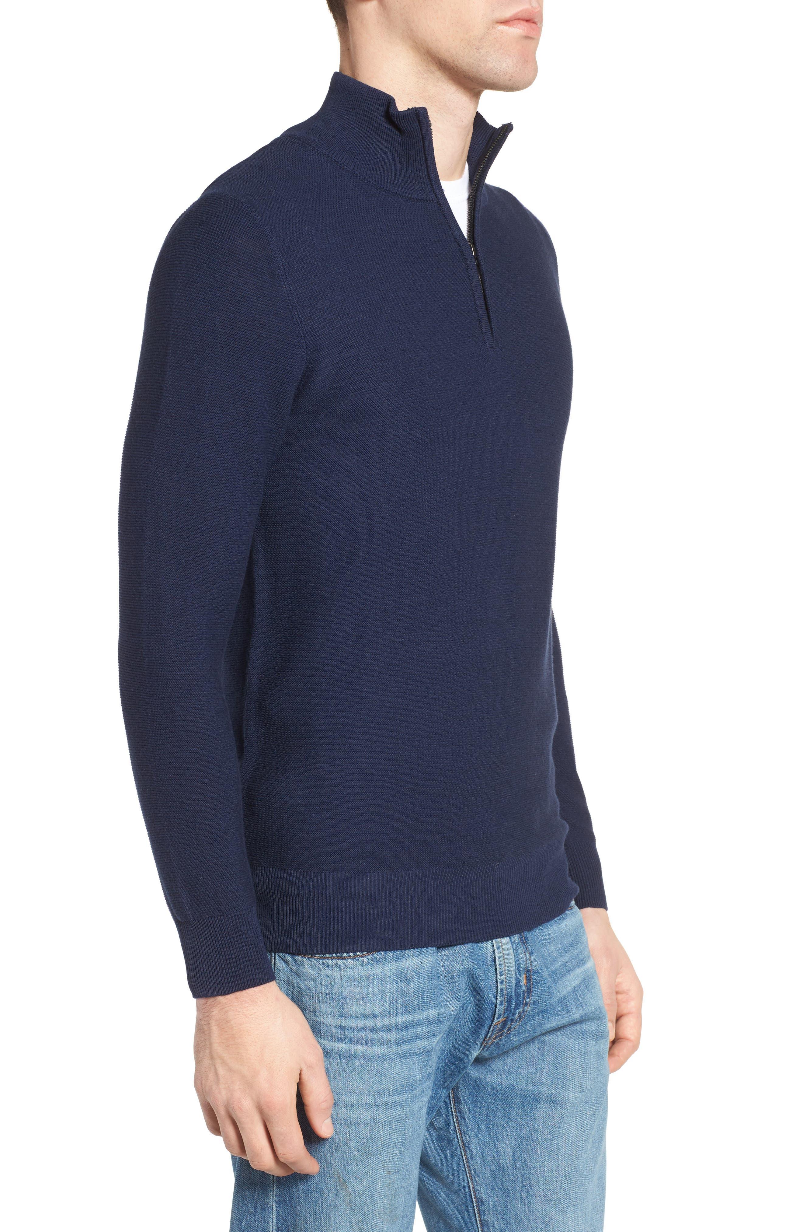Quarter Zip Sweater,                             Alternate thumbnail 3, color,                             Navy