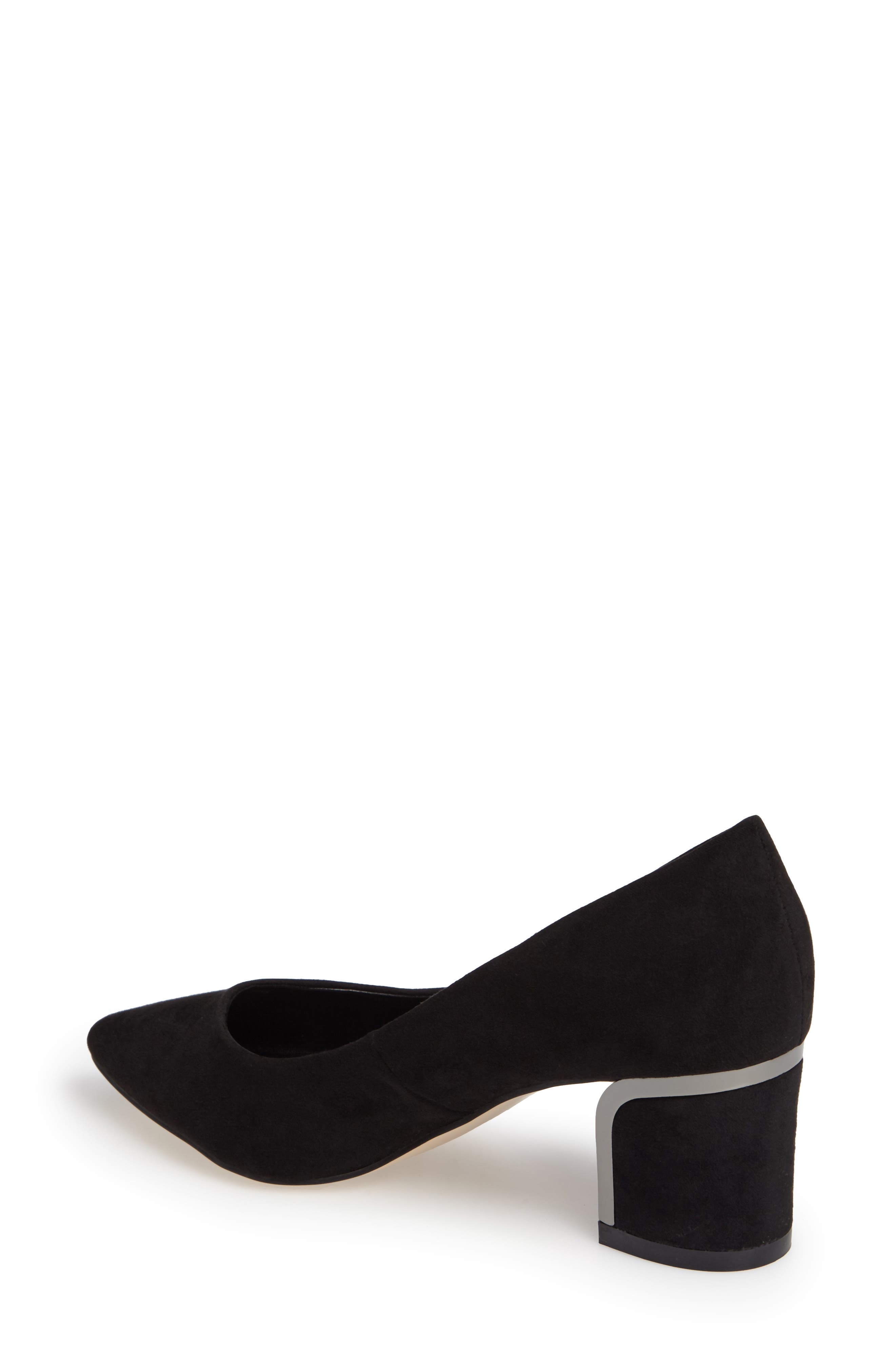 Zabel Embellished Block Heel Pump,                             Alternate thumbnail 2, color,                             Black Faux Suede