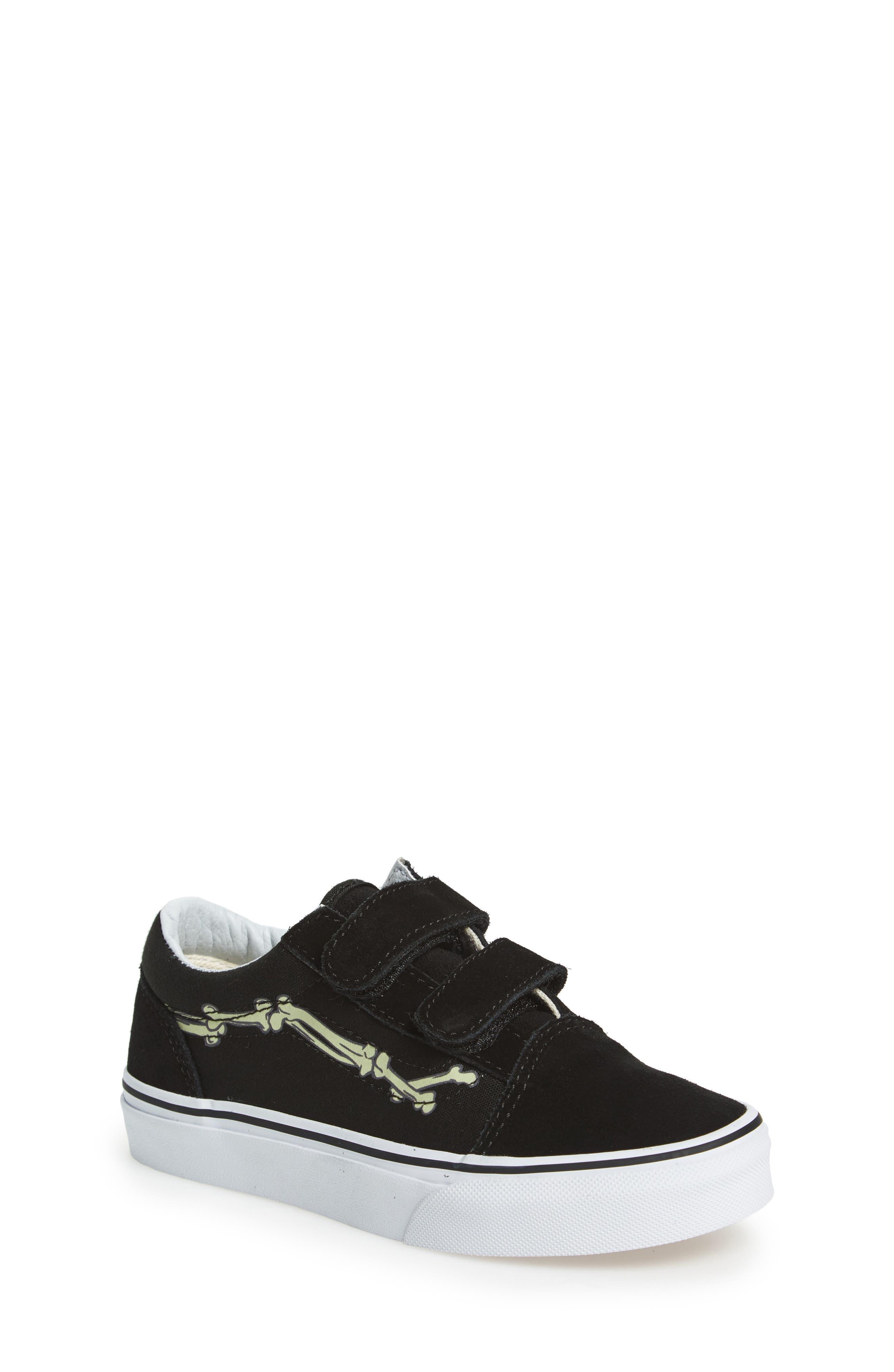 Old Skool Skate Sneaker,                             Main thumbnail 1, color,                             Glow Bones Black/ White