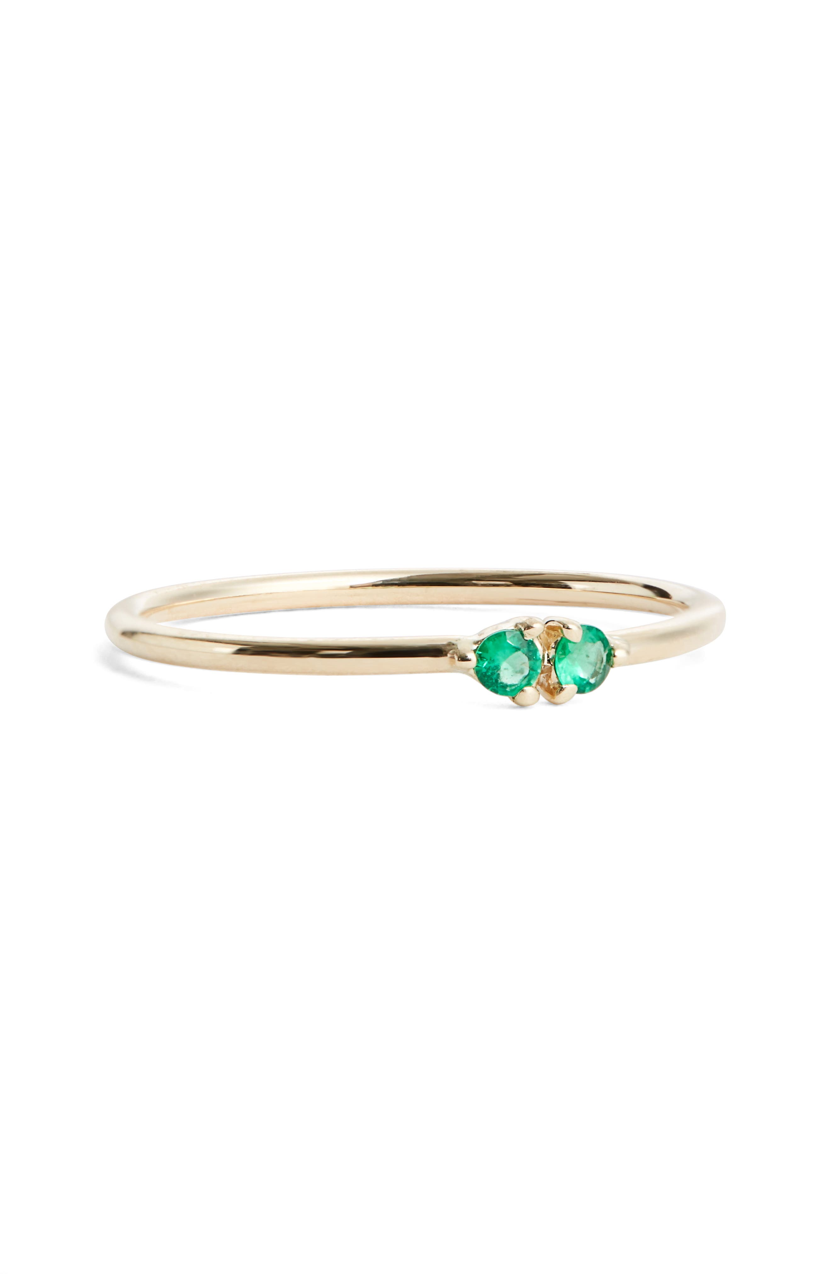 Main Image - WWAKE Double Emerald Ring (Nordstrom Exclusive)