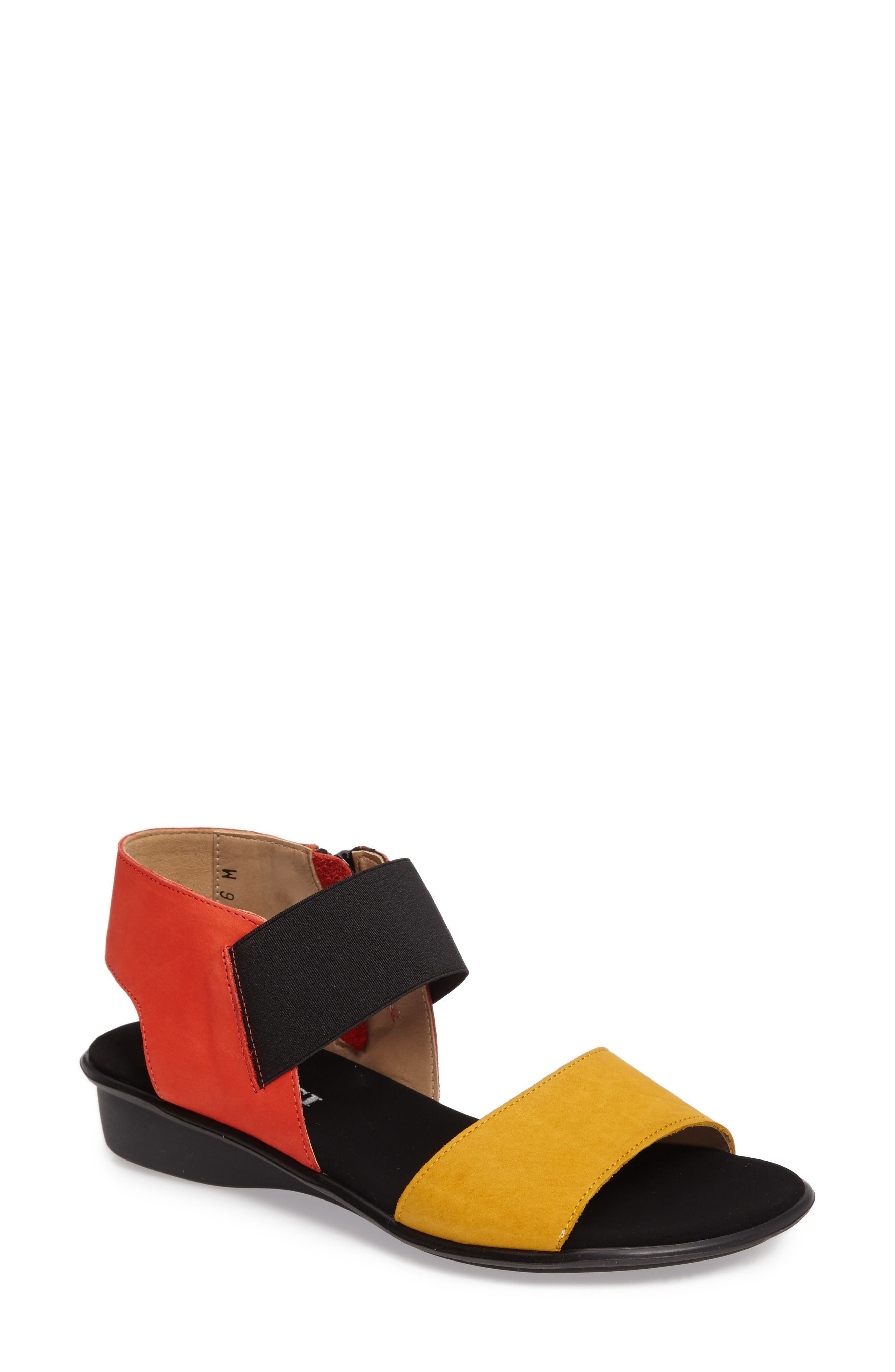 SESTO MEUCCI Eirlys Sandal in Mustard/ Coral Leather