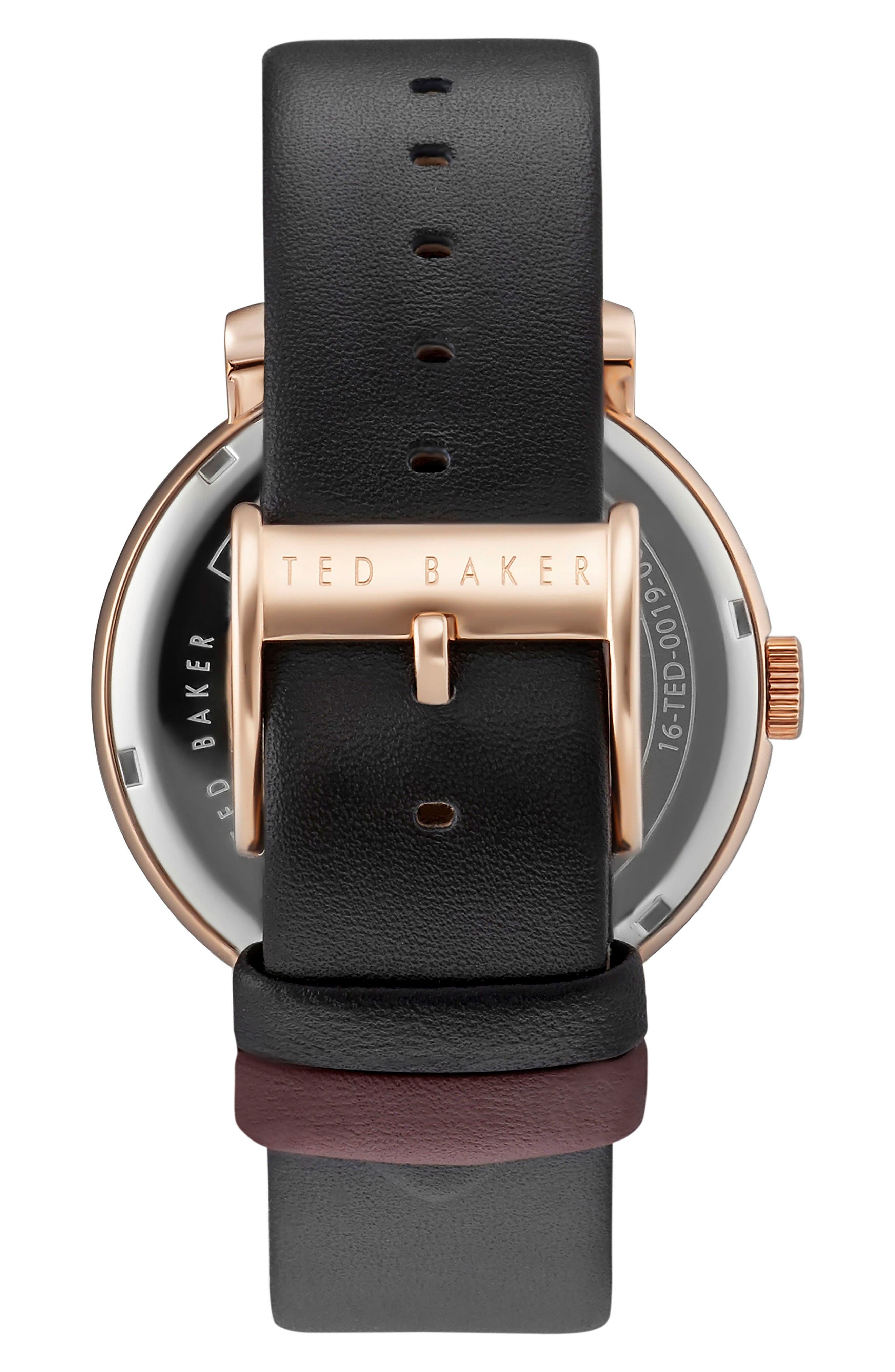 Alternate Image 2  - Ted Baker London Oliver Leather Strap Watch, 42mm