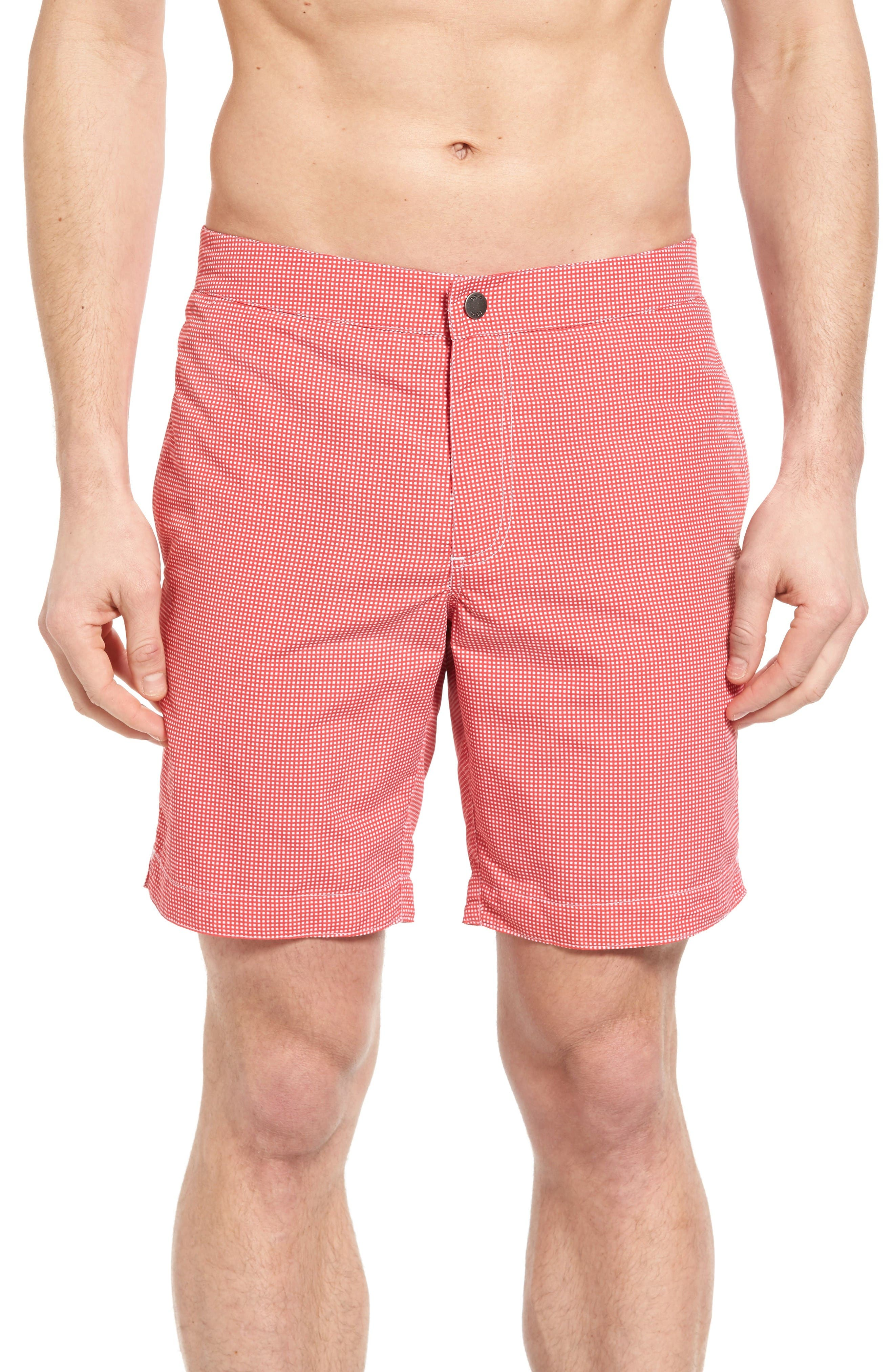 Aruba Microcheck Tailored Fit 8.5 Inch Swim Trunks,                             Main thumbnail 1, color,                             Coral
