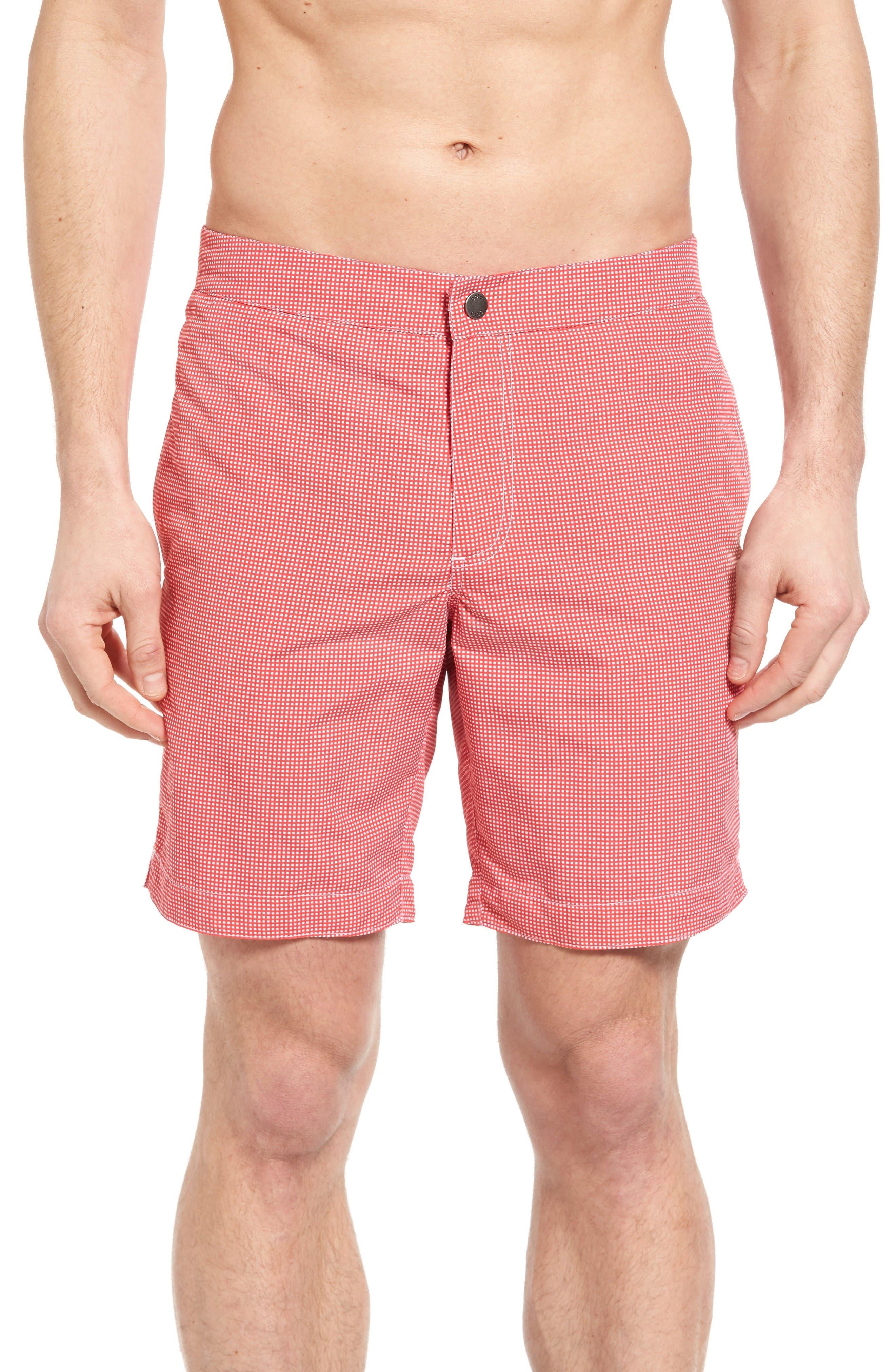 Aruba Microcheck Tailored Fit 8.5 Inch Swim Trunks,                         Main,                         color, Coral