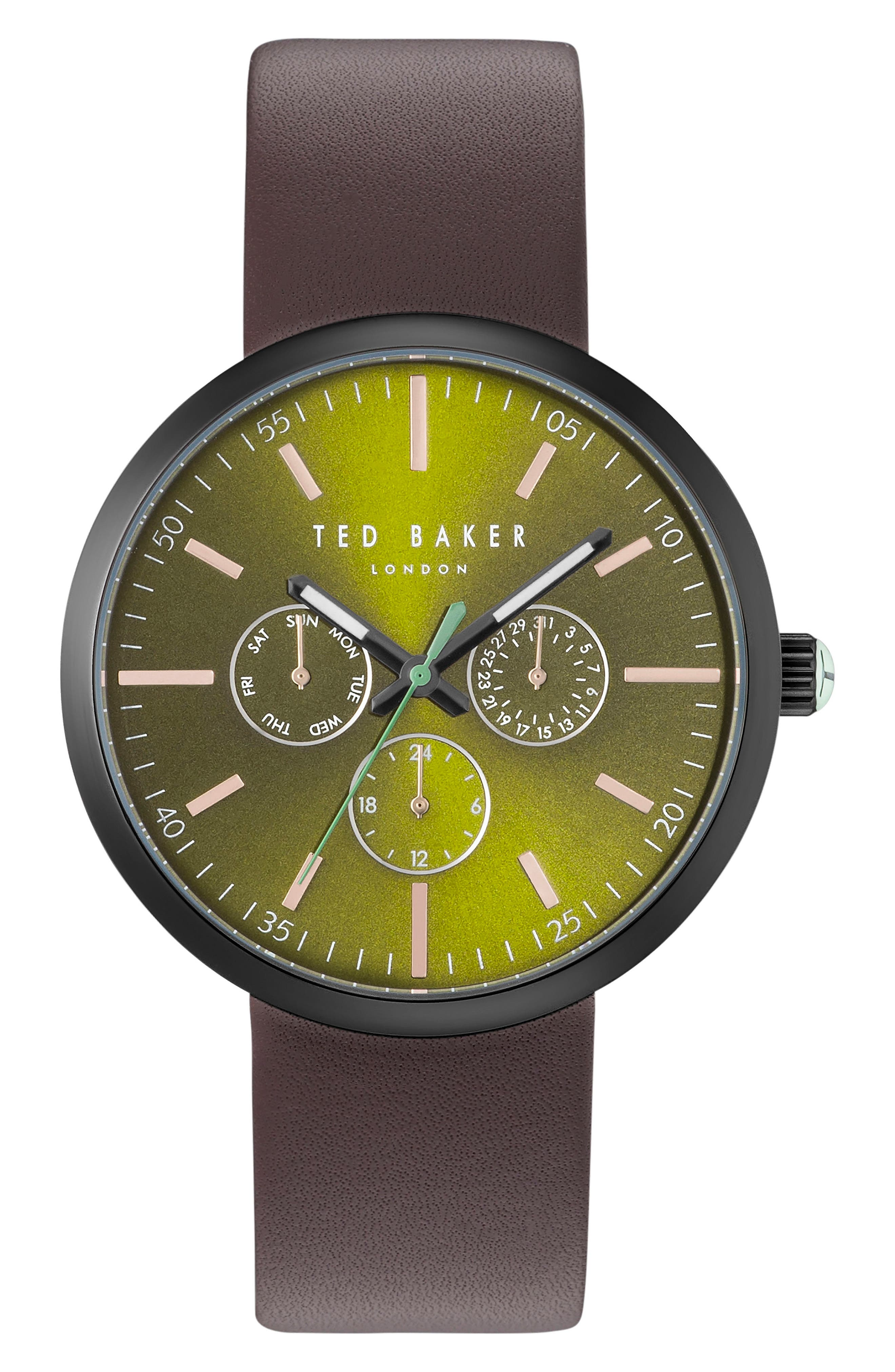 Jack Multifunction Leather Strap Watch, 40mm,                         Main,                         color, Green/ Brown