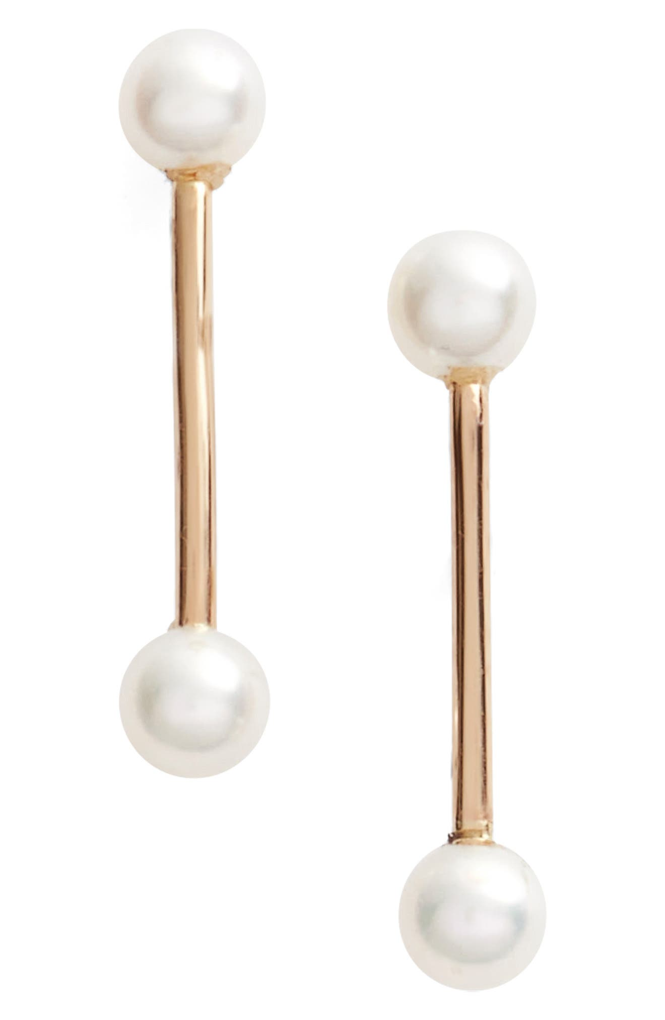 Pearl Bar Stud Earrings,                             Main thumbnail 1, color,                             Yellow Gold/ White Pearl